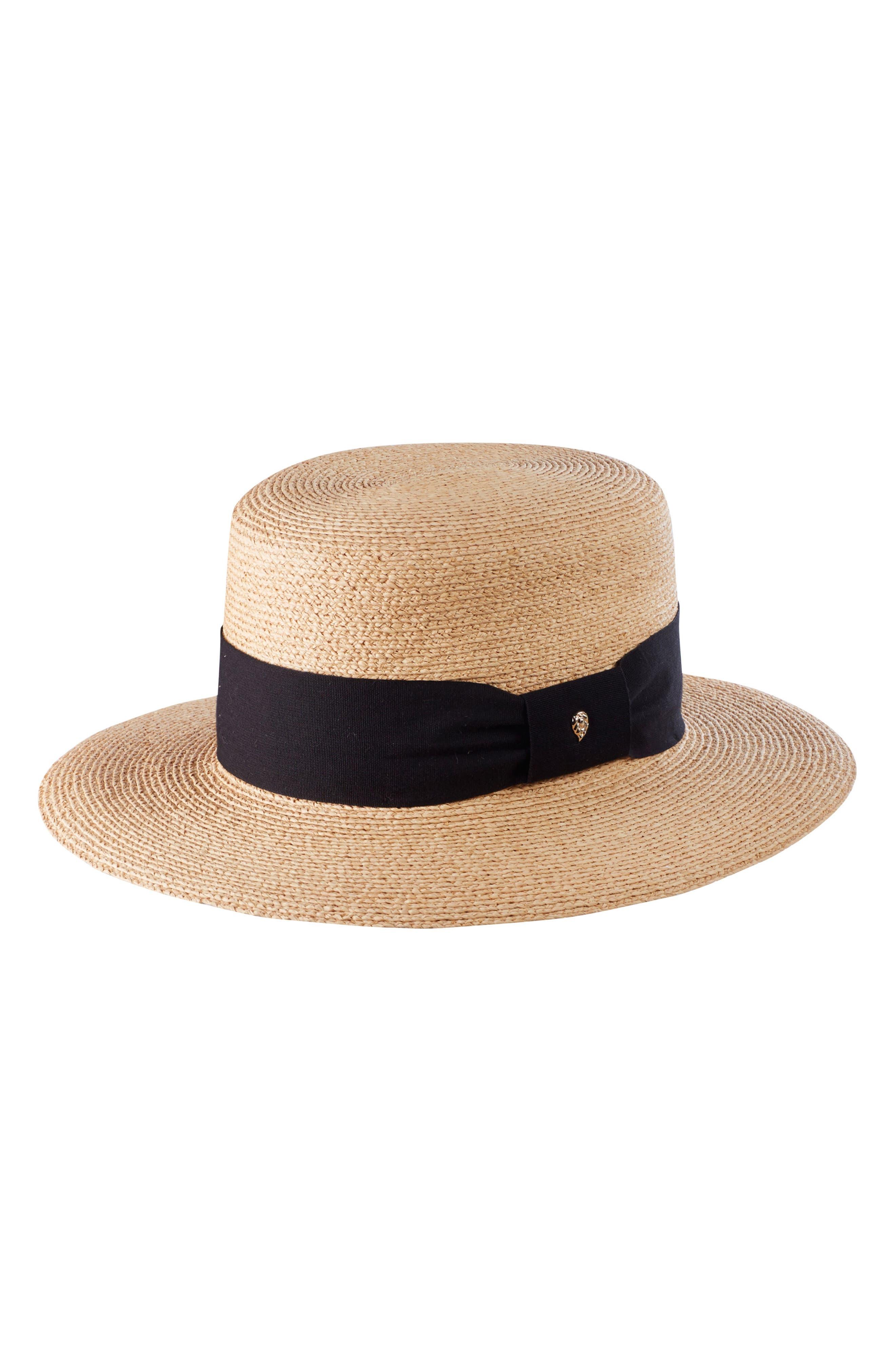 Braided Raffia Boater Hat,                             Alternate thumbnail 2, color,                             Natural/ Black