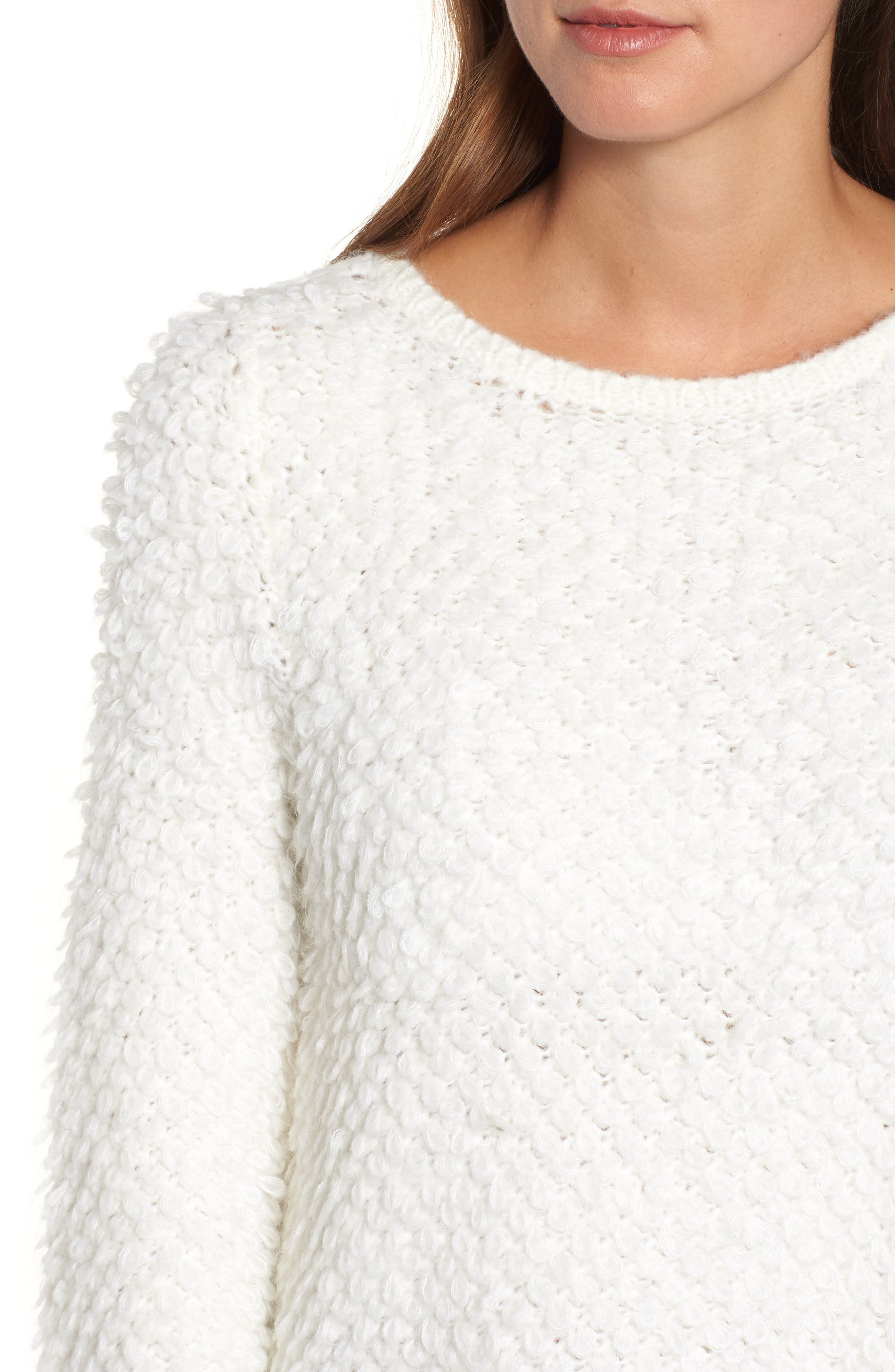 Loop Stitch Crewneck Sweater,                             Alternate thumbnail 4, color,                             Ivory Cloud