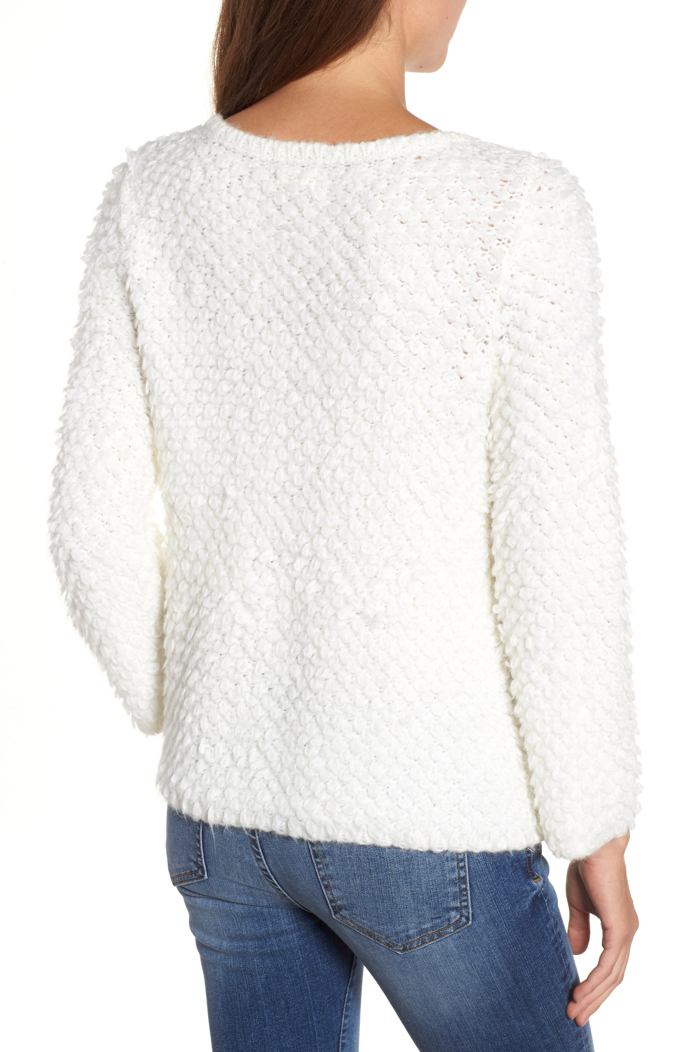 Loop Stitch Crewneck Sweater,                             Alternate thumbnail 2, color,                             Ivory Cloud
