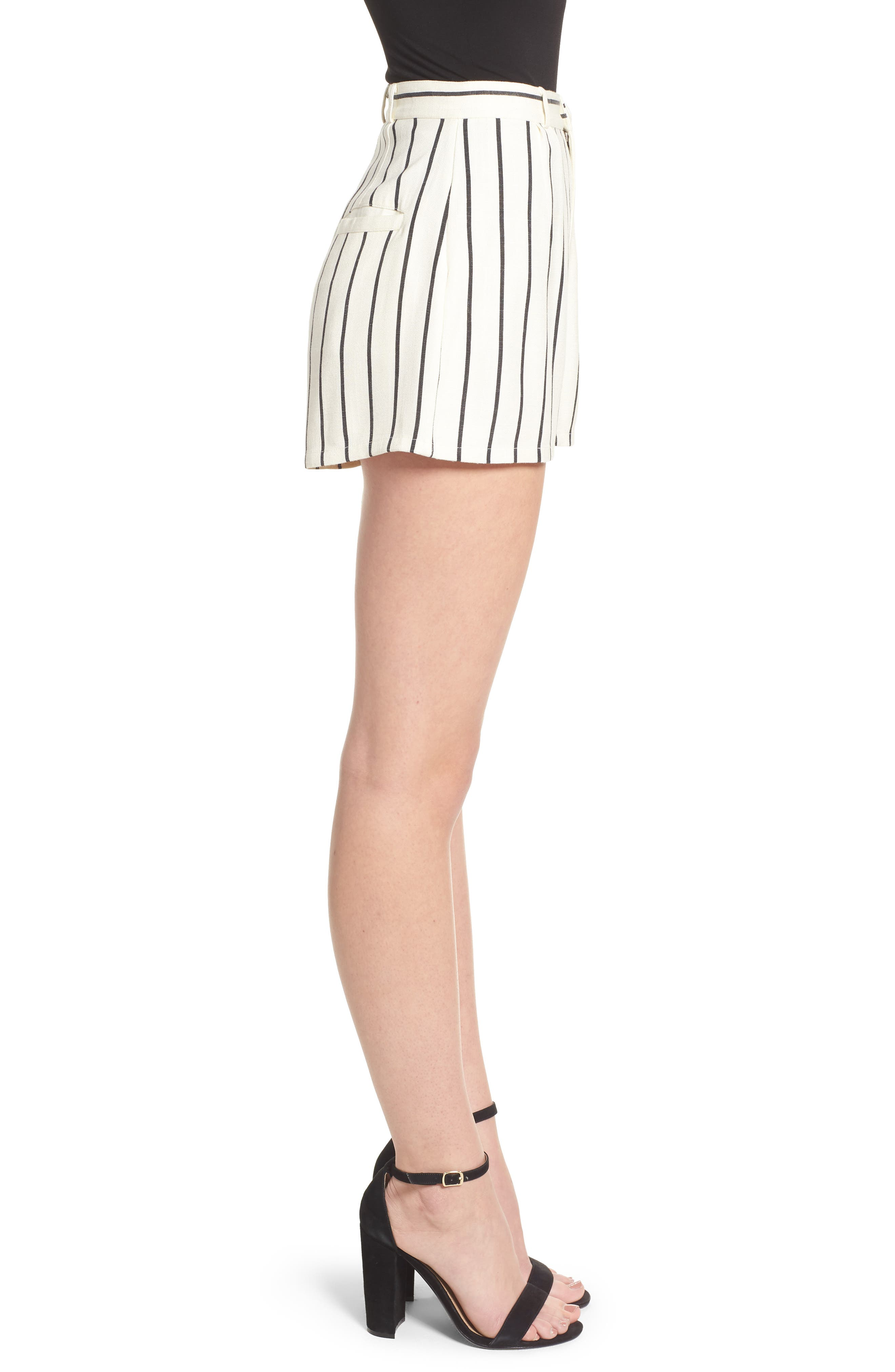 Jordy Stripe High Waist Shorts,                             Alternate thumbnail 4, color,                             Natural And Black