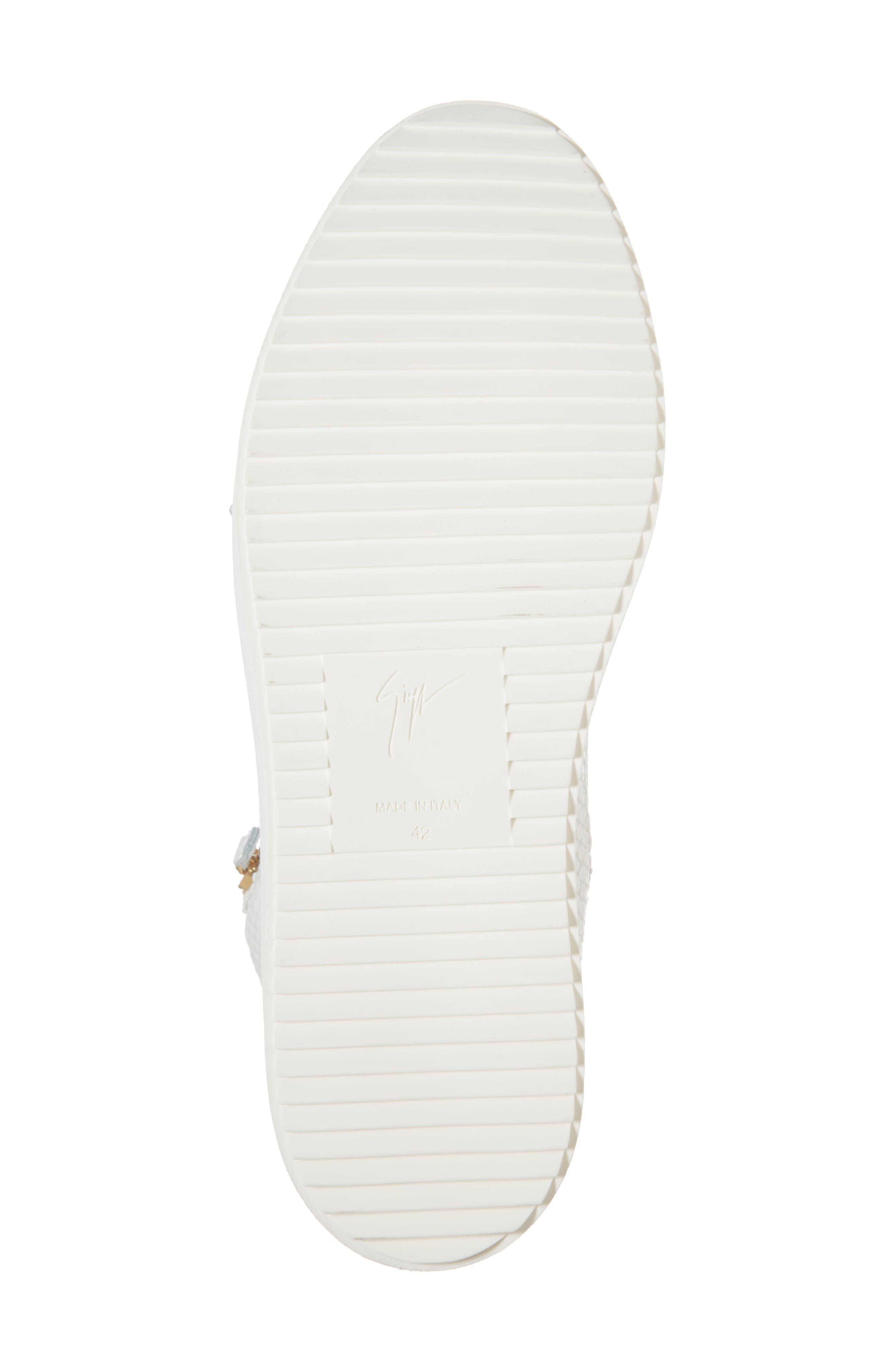 Snake Embossed High Top Sneaker,                             Alternate thumbnail 6, color,                             Bianco