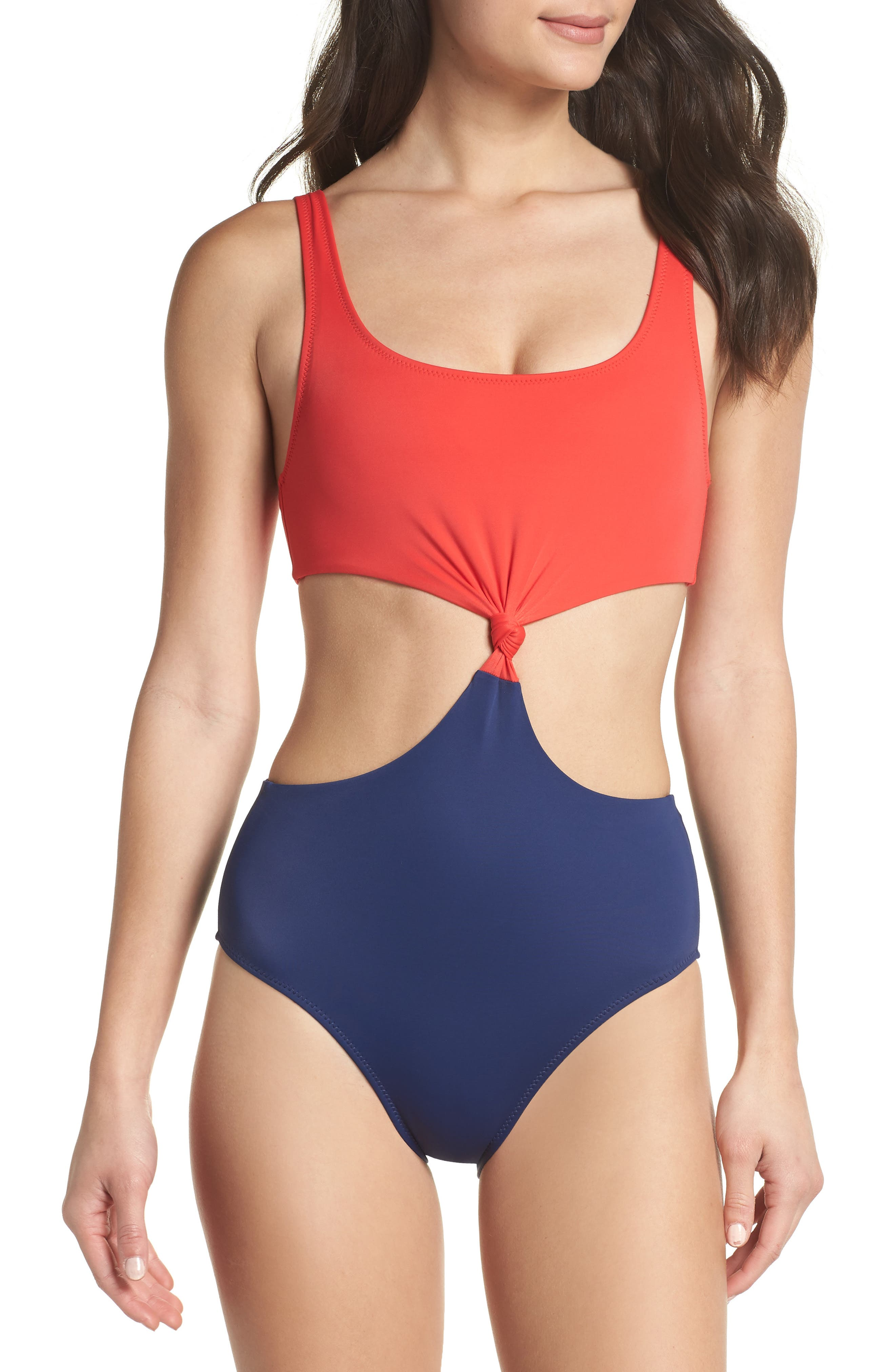 The Bailey One-Piece Swimsuit,                         Main,                         color, Red Navy