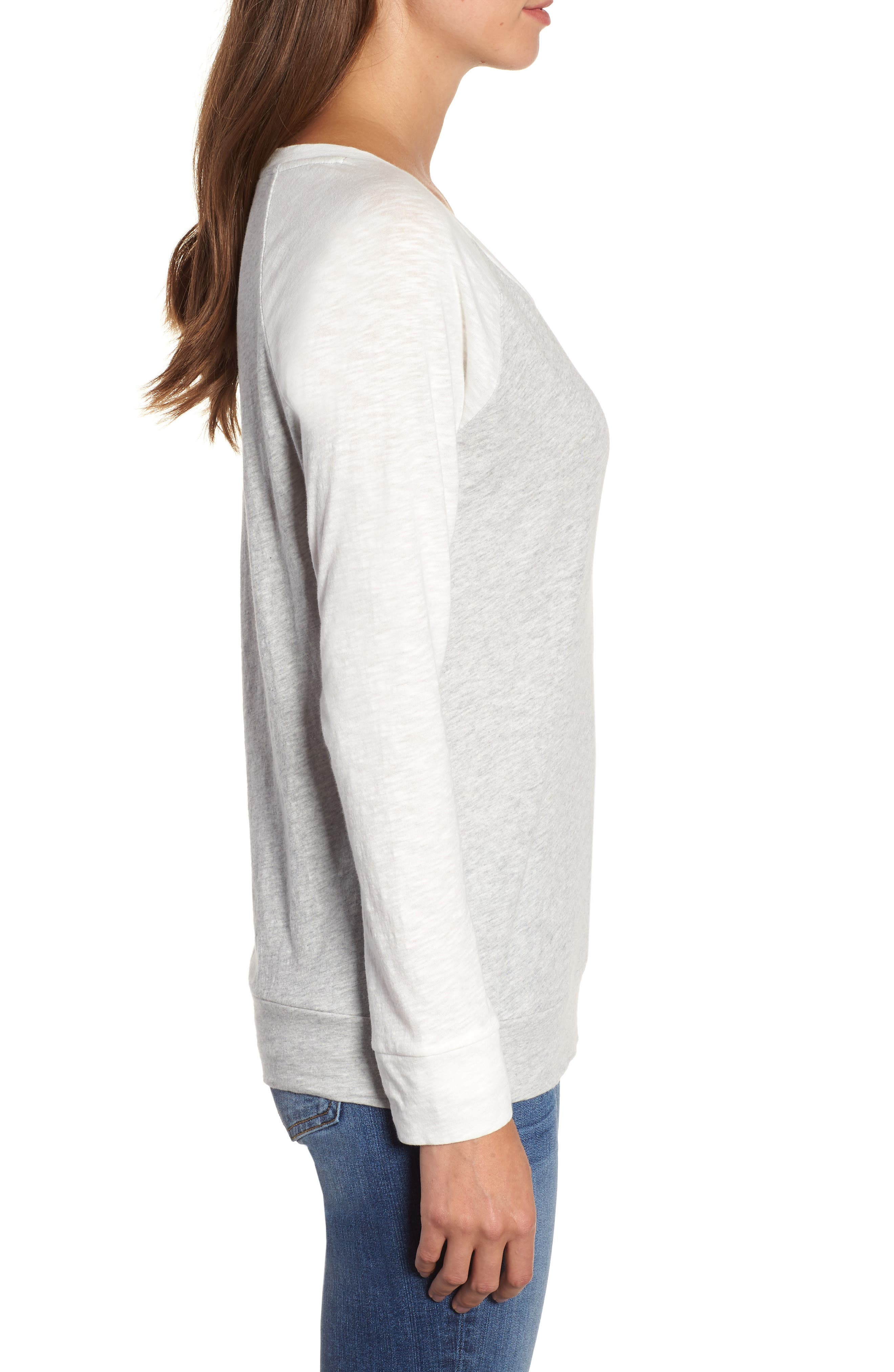 Lightweight Colorblock Cotton Tee,                             Alternate thumbnail 3, color,                             Grey- Ivory