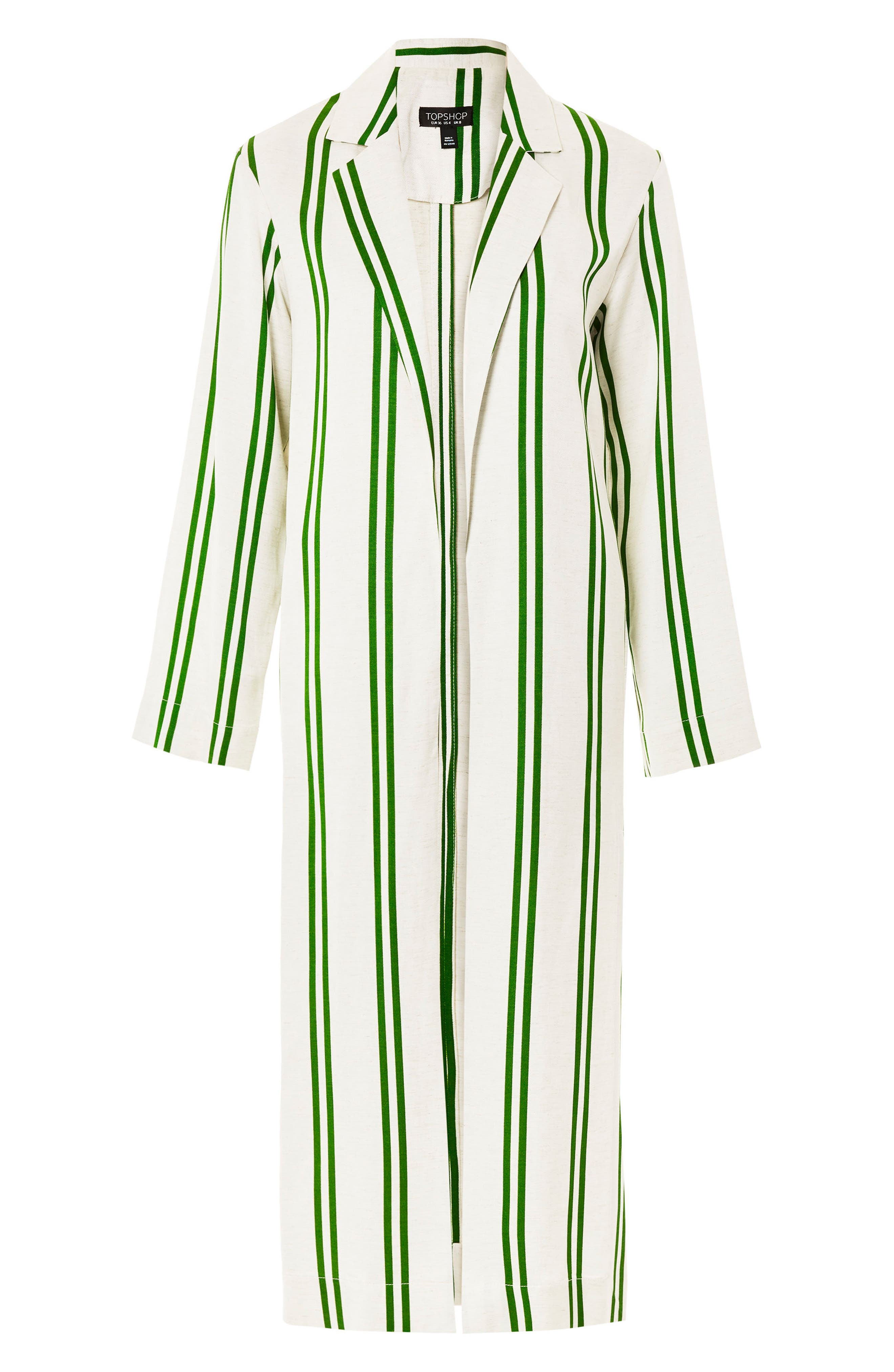 Slub Stripe Duster Coat,                             Alternate thumbnail 5, color,                             Green Multi