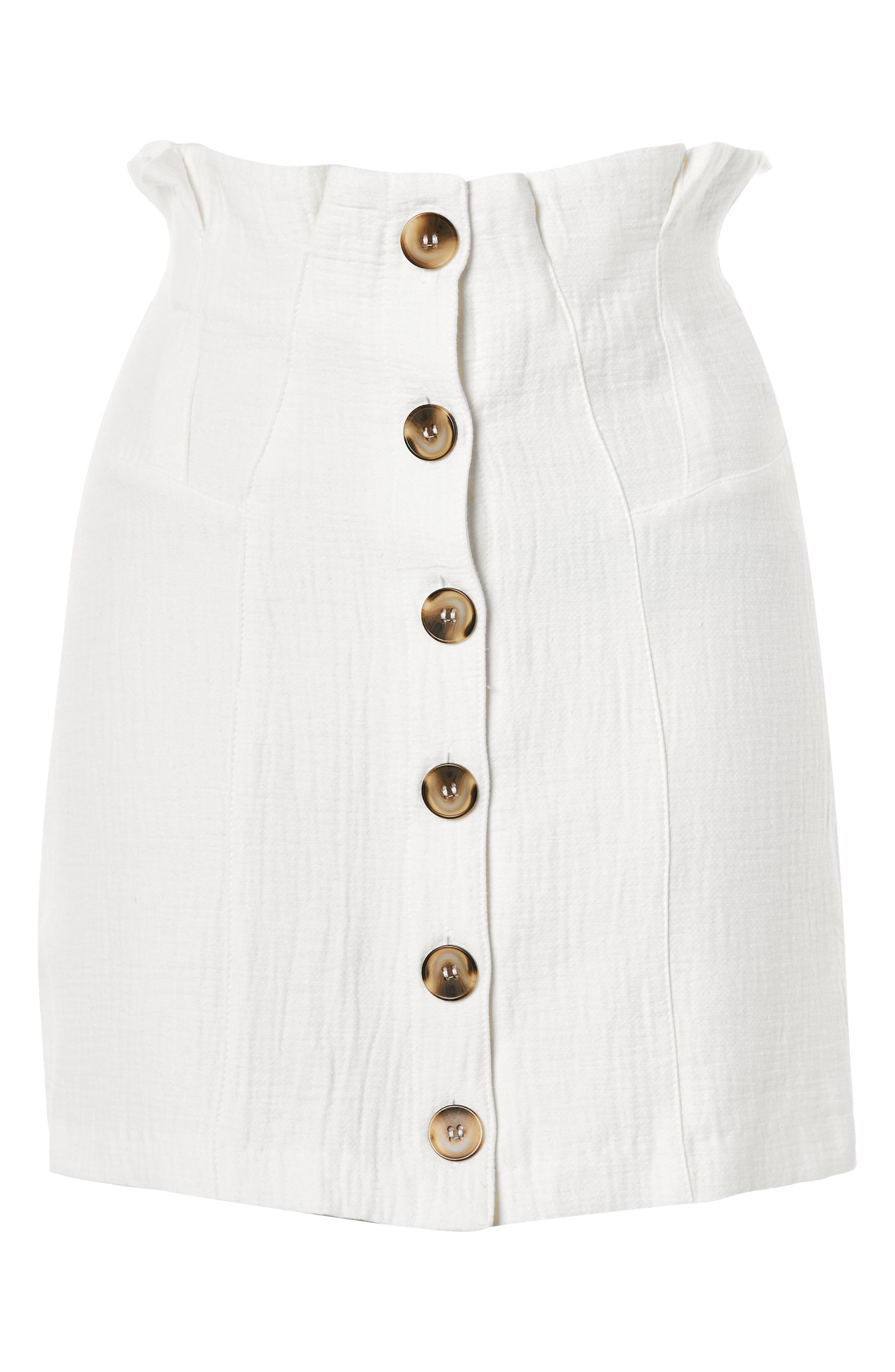 Paperbag Waist Button Front Skirt,                             Alternate thumbnail 4, color,                             Ivory