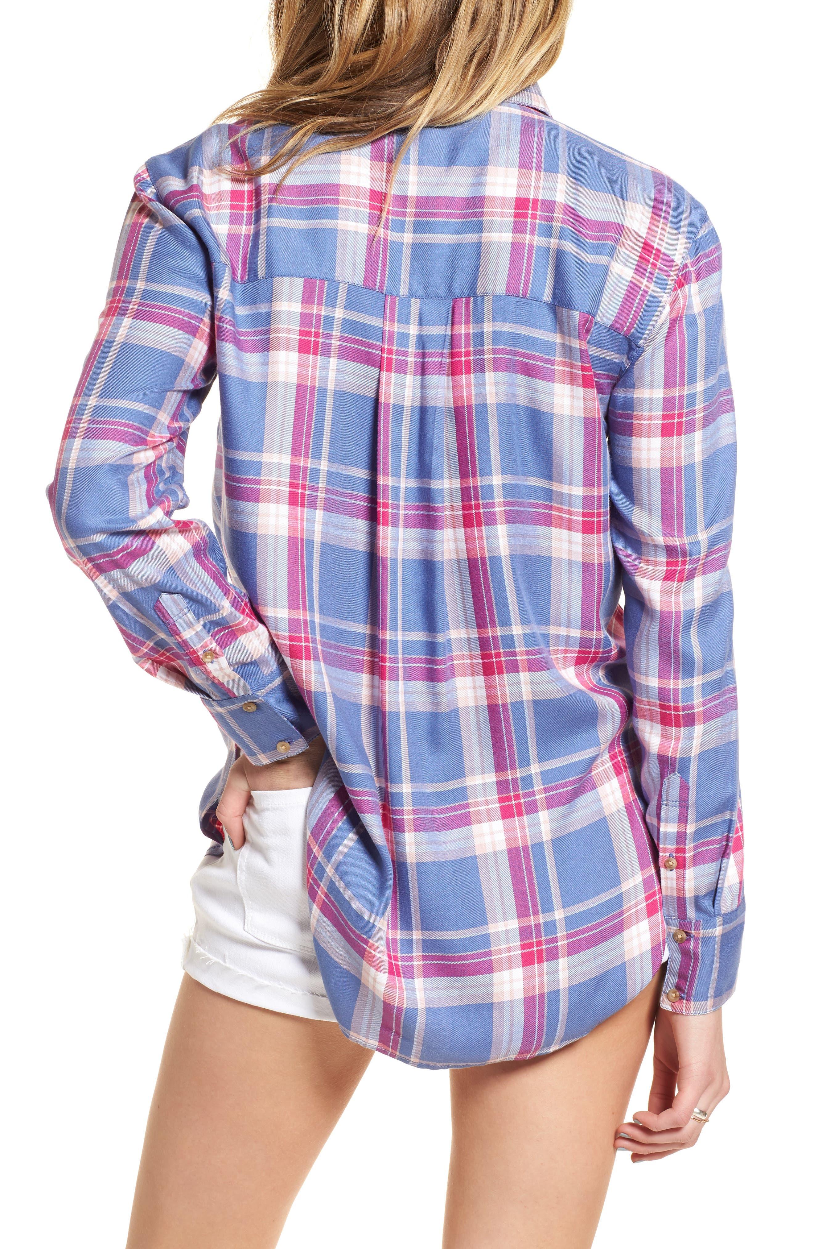 Plaid Boyfriend Shirt,                             Alternate thumbnail 2, color,                             Blue Denim Cube Plaid