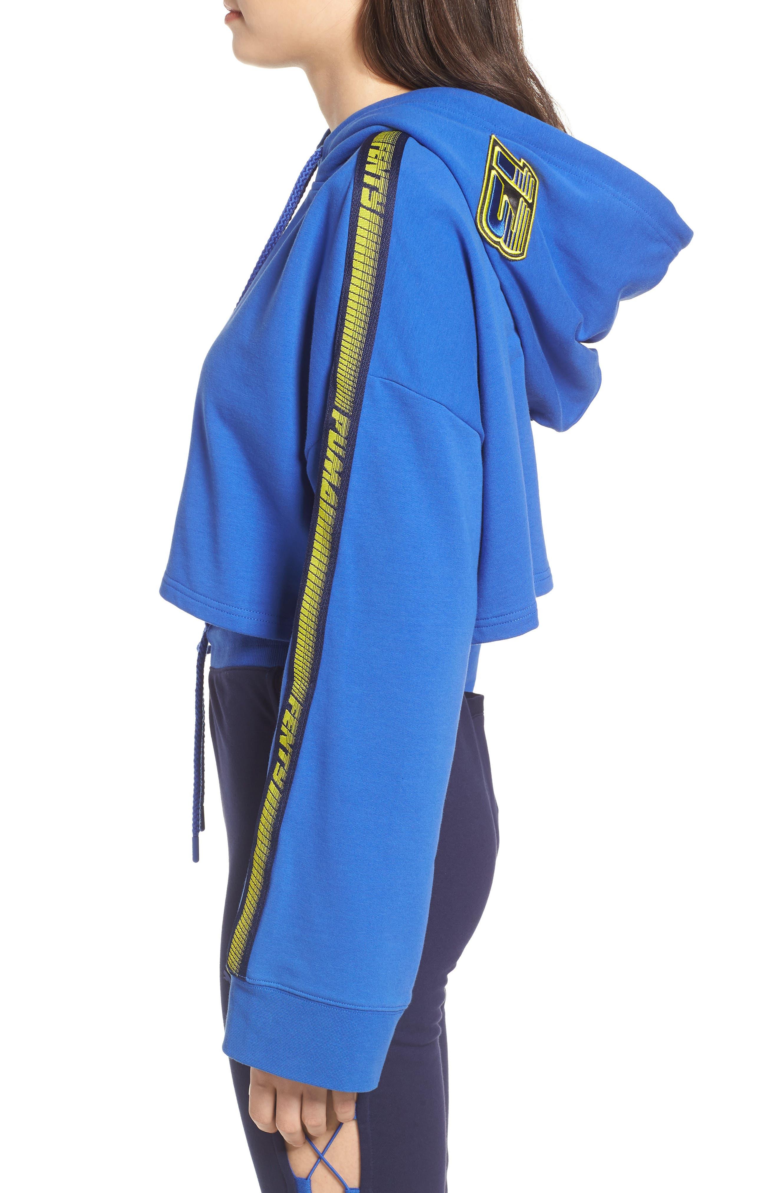 FENTY PUMA by Rihanna Hooded Crop Sweatshirt,                             Alternate thumbnail 3, color,                             Dazzling Blue