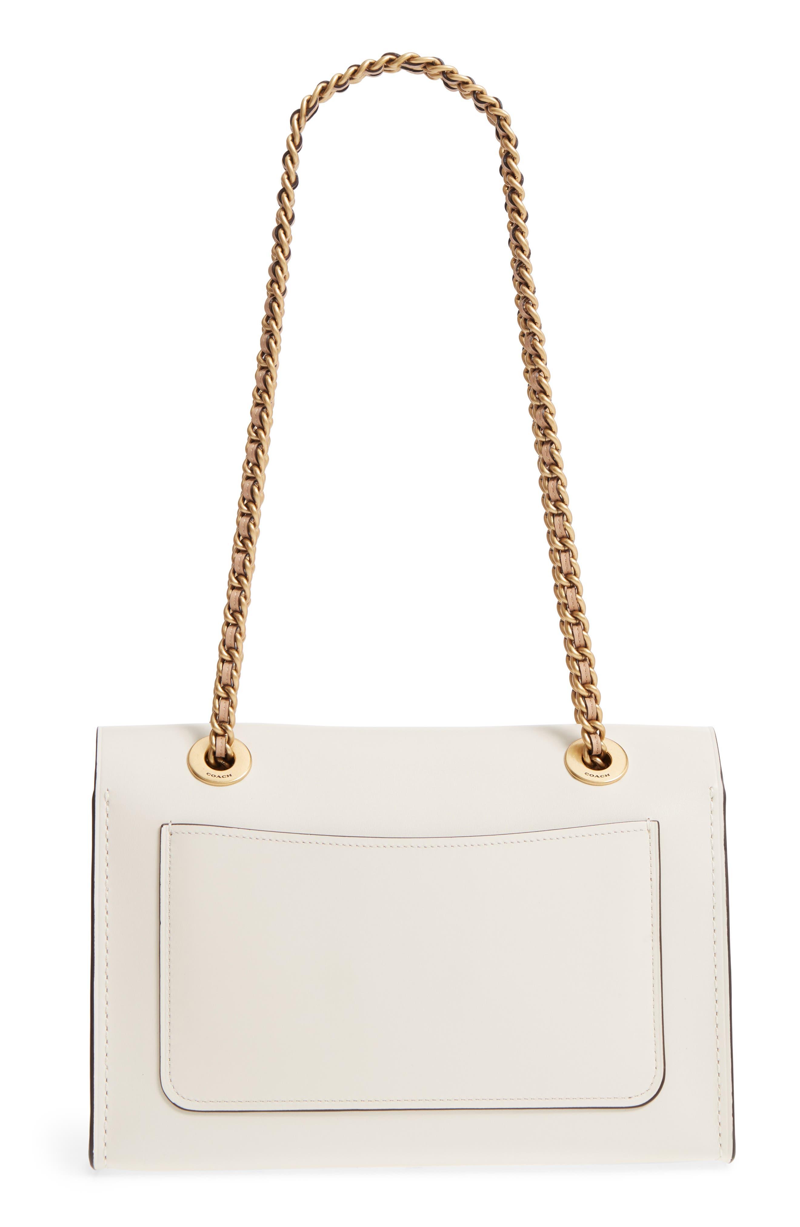 Parker Floral Embellished Leather Shoulder Bag,                             Alternate thumbnail 3, color,                             Chalk Multi