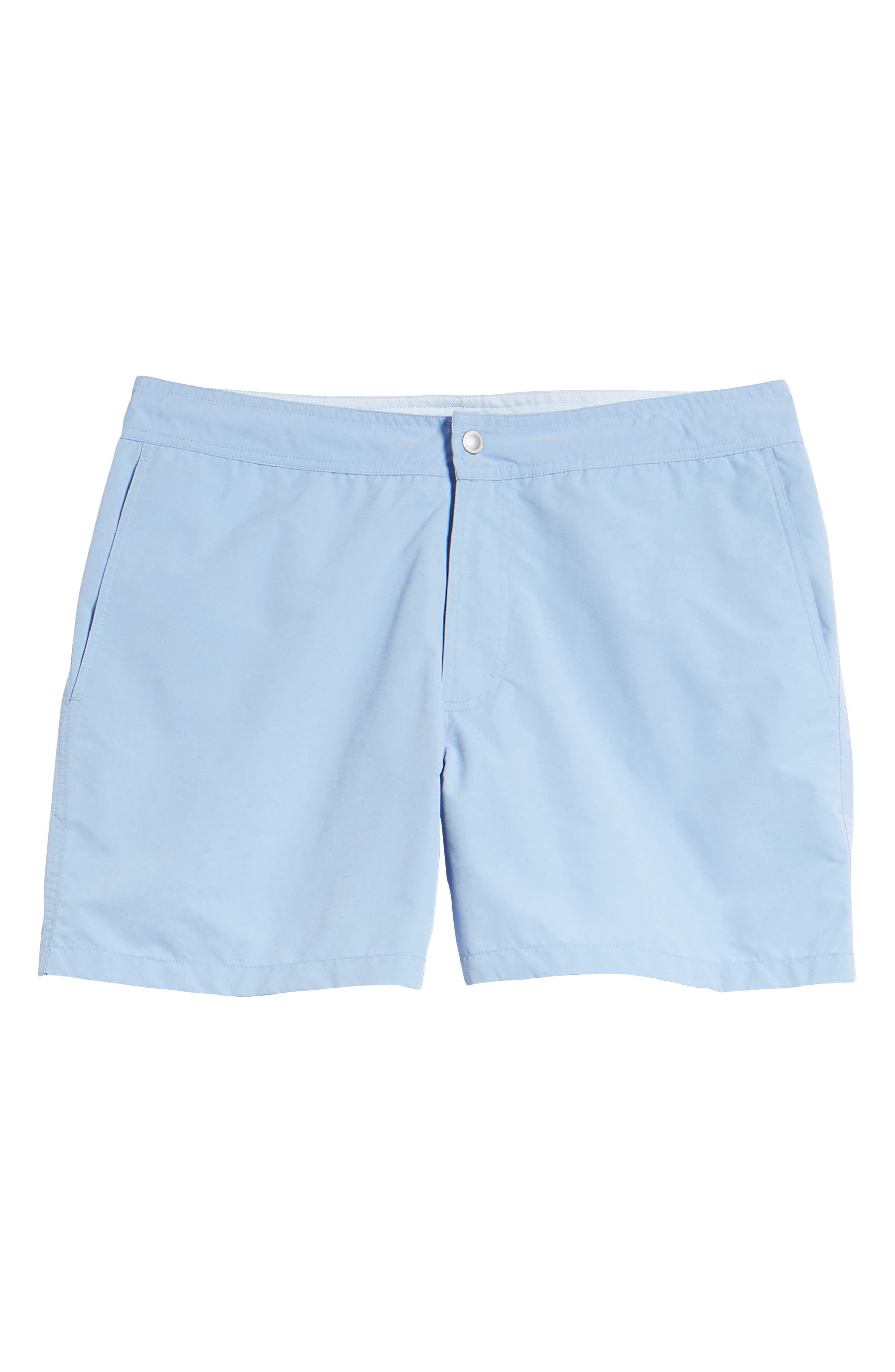Solid 5-Inch Swim Trunks,                             Alternate thumbnail 6, color,                             Blue Chambray