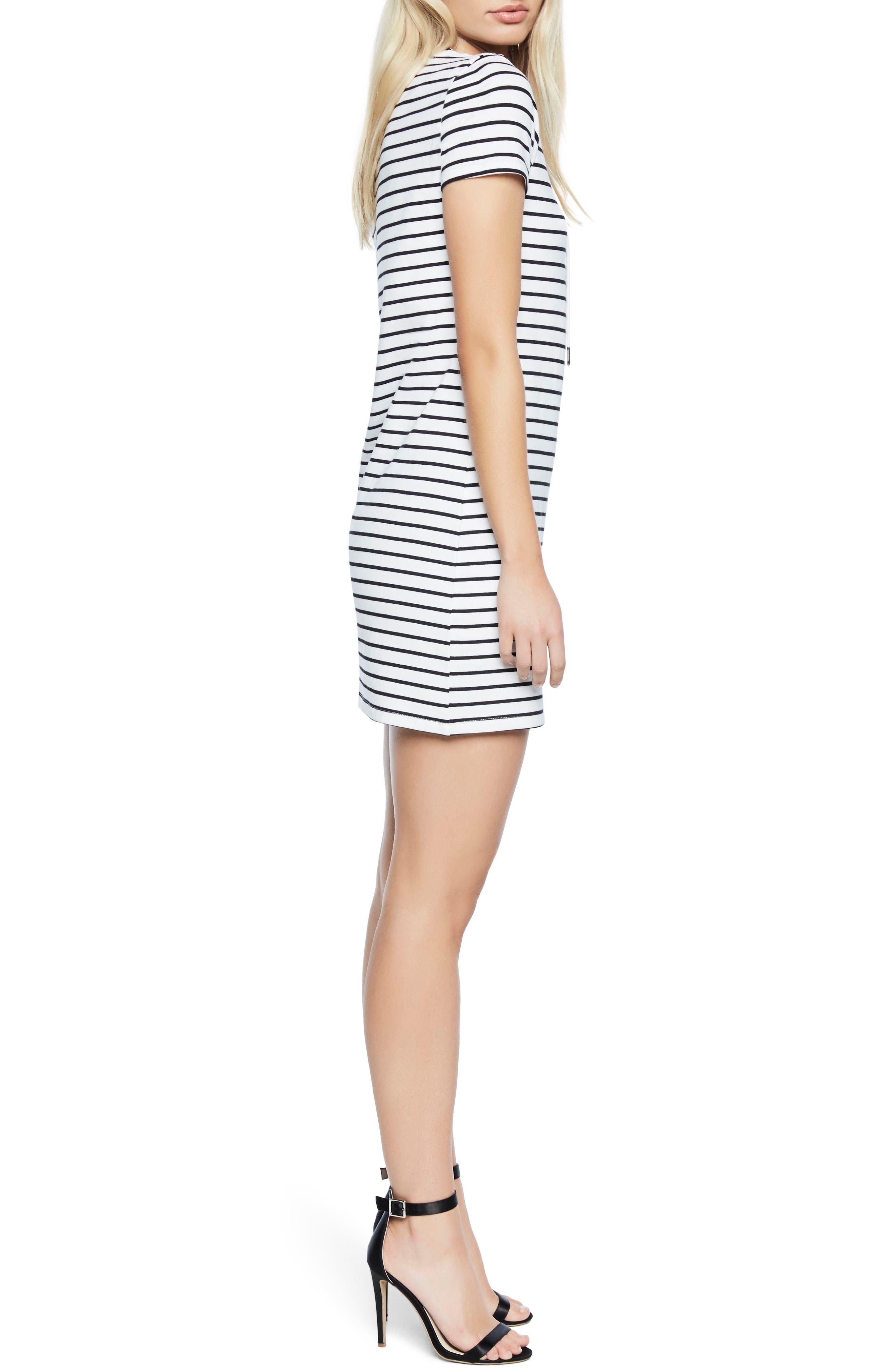 Stripe Shift Dress,                             Alternate thumbnail 3, color,                             Black/ White Stripe