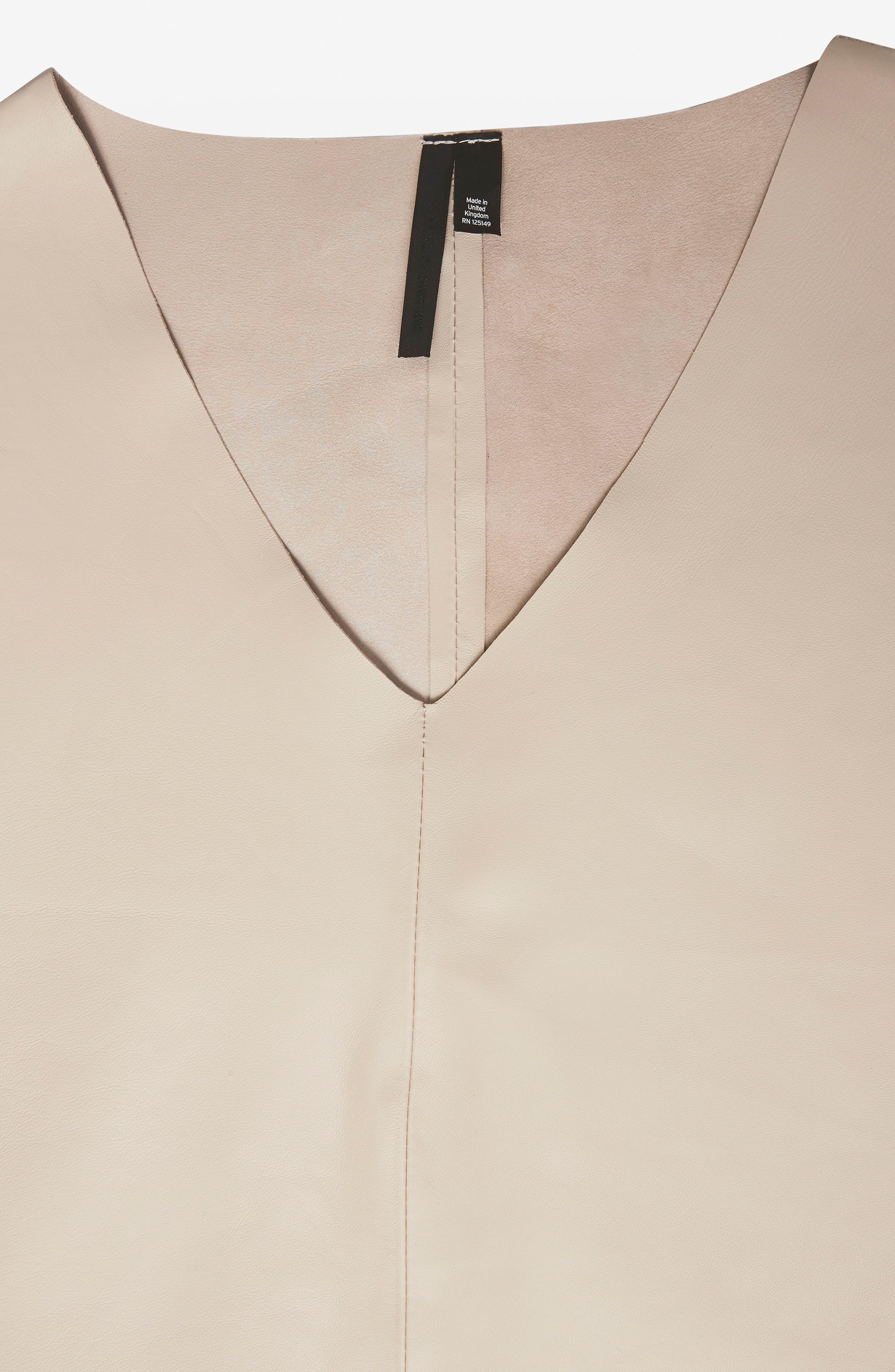 Leather V-Neck Dress,                             Alternate thumbnail 5, color,                             Cream