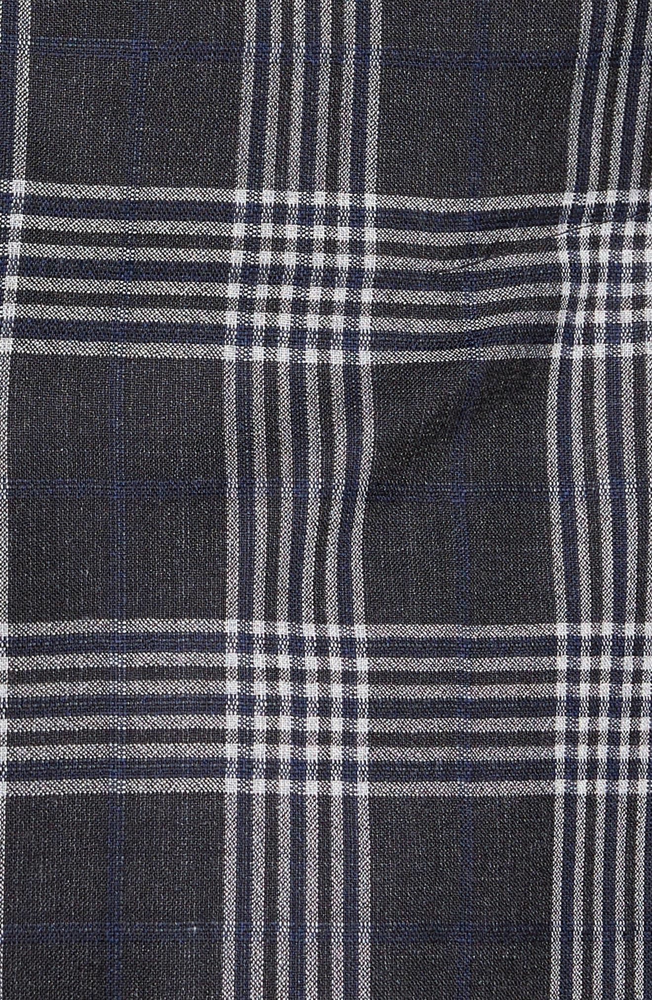 Modern Fit Plaid Wool & Silk Sport Coat,                             Alternate thumbnail 5, color,                             Charcoal