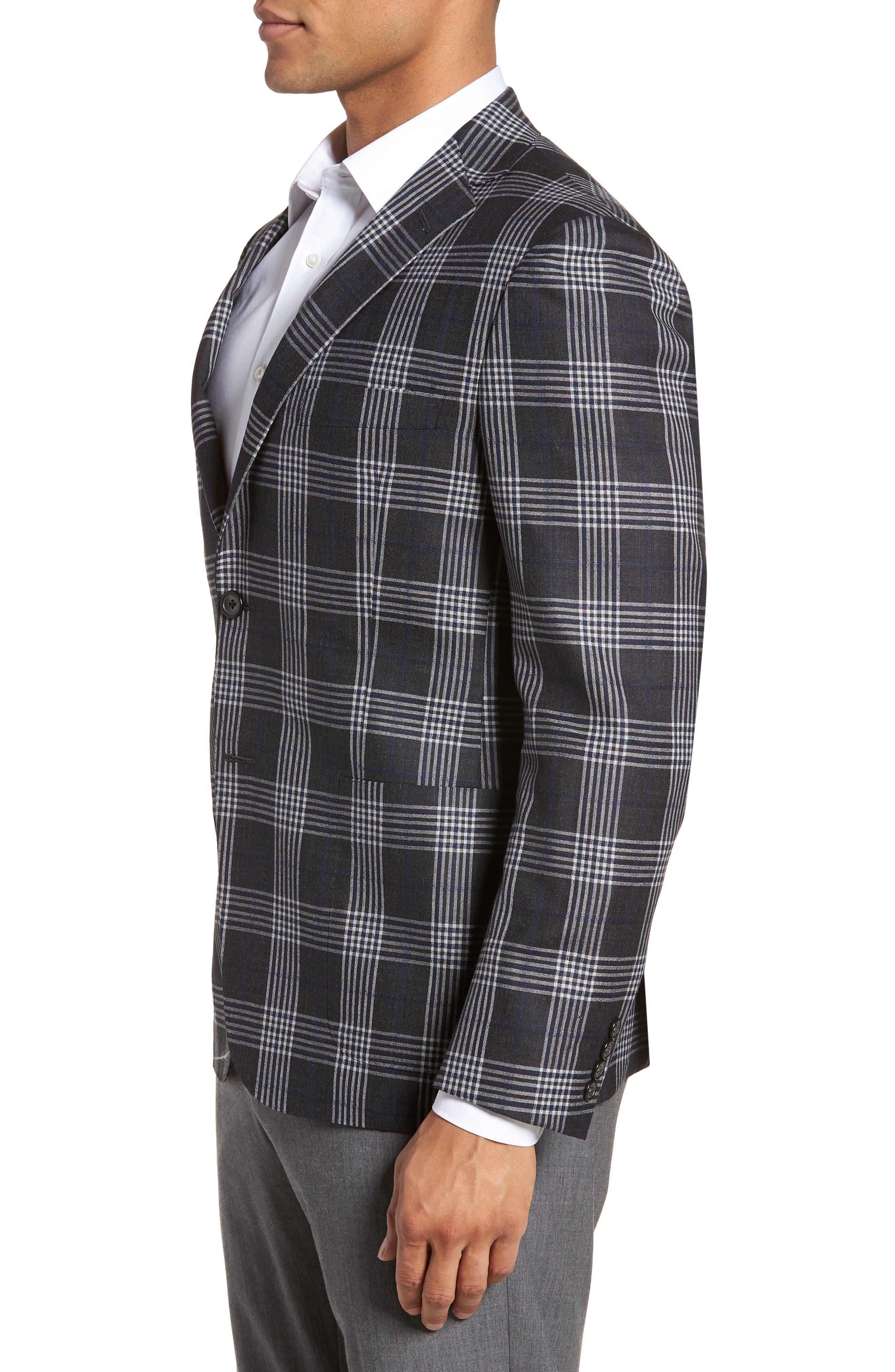 Modern Fit Plaid Wool & Silk Sport Coat,                             Alternate thumbnail 3, color,                             Charcoal