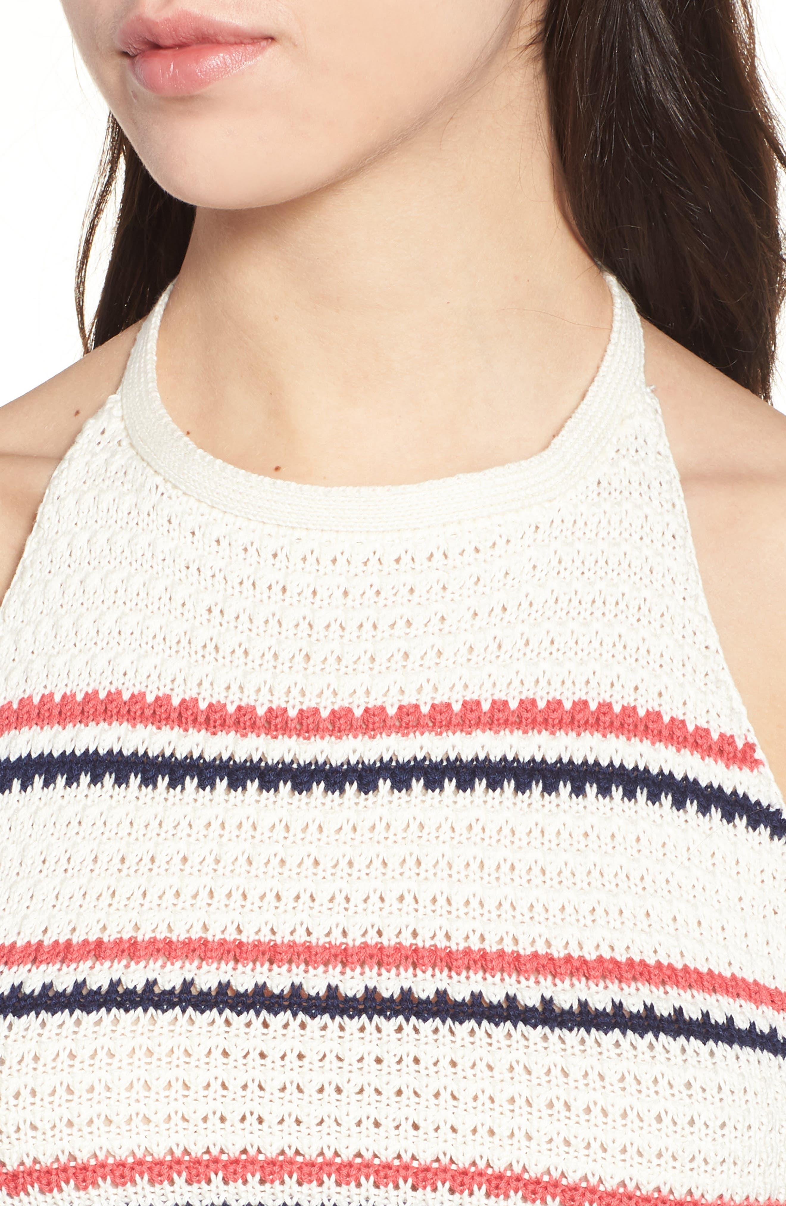 Stripe Halter Sweater Tank,                             Alternate thumbnail 4, color,                             Ivory/ Navy/ Pink Stripe