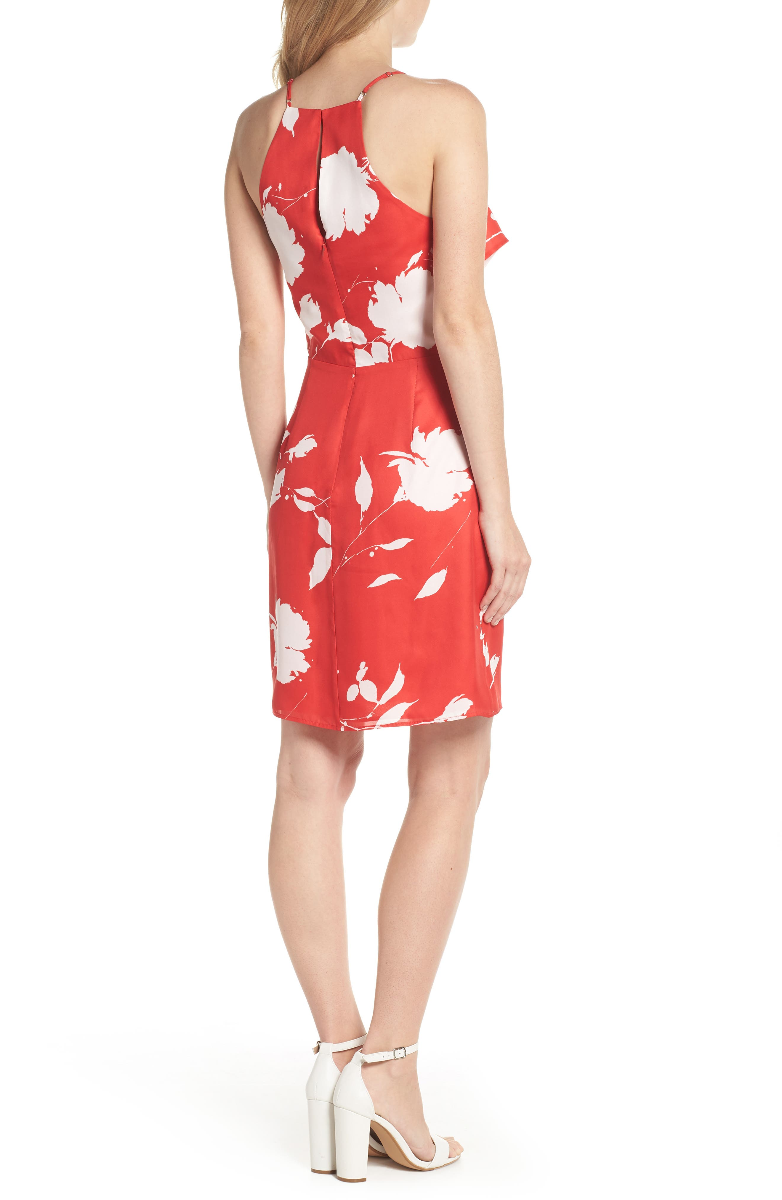 Floral Ruffle Front Sheath Dress,                             Alternate thumbnail 2, color,                             Red White Poppy