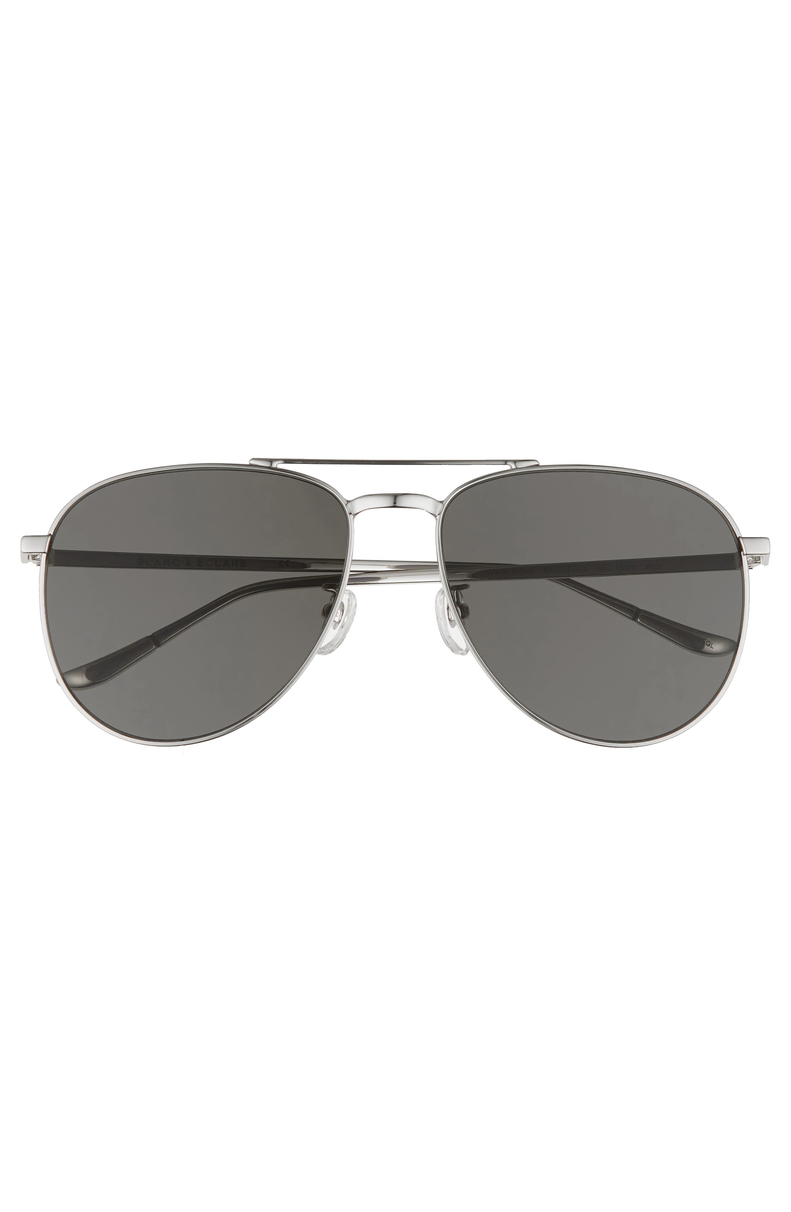 BLANC & ECLARE Miami 61mm Large Polarized Aviator Sunglasses,                             Alternate thumbnail 2, color,                             Silver/ Grey