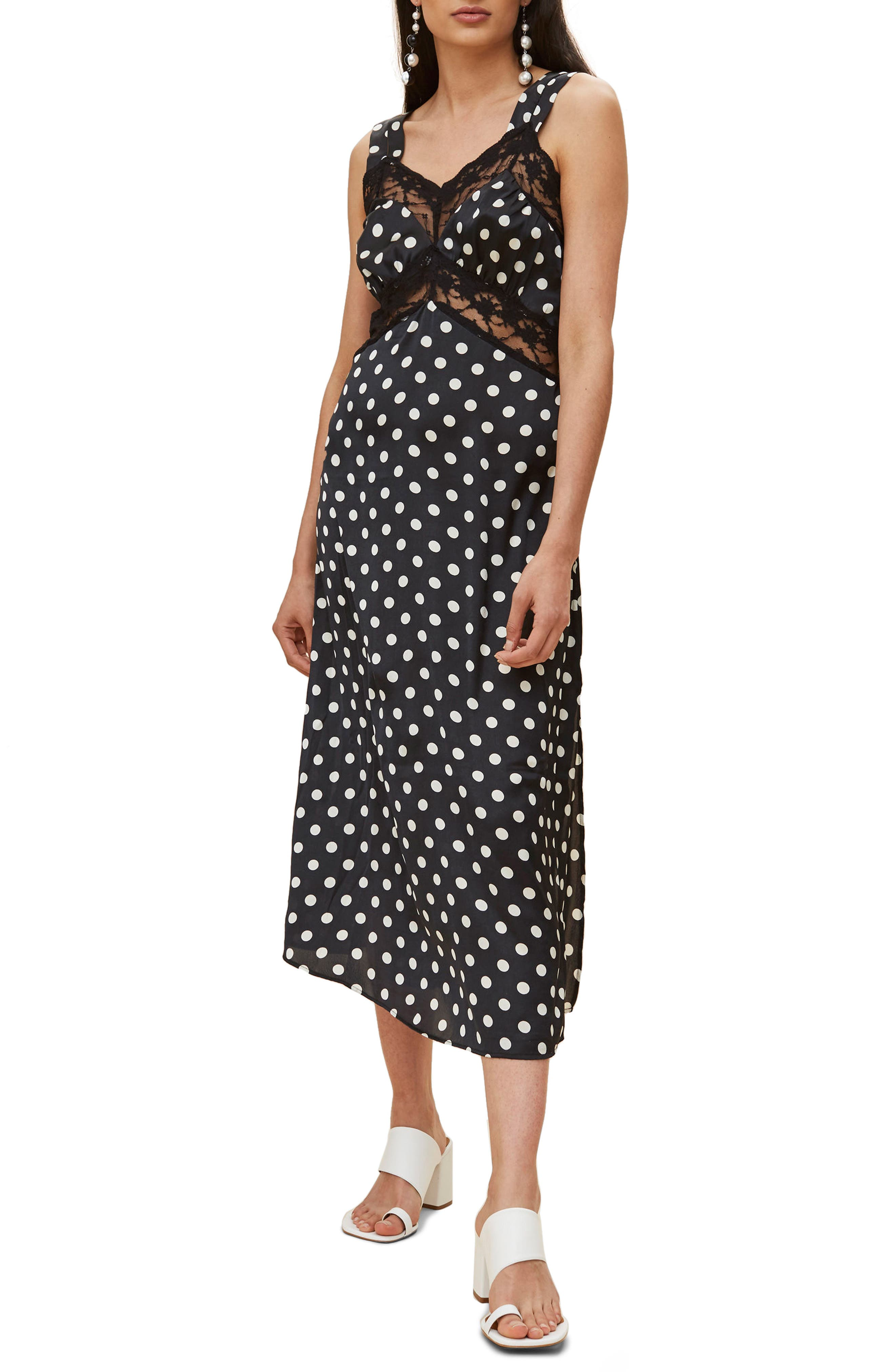 Polka Dot Lace Satin Slipdress,                         Main,                         color, Black