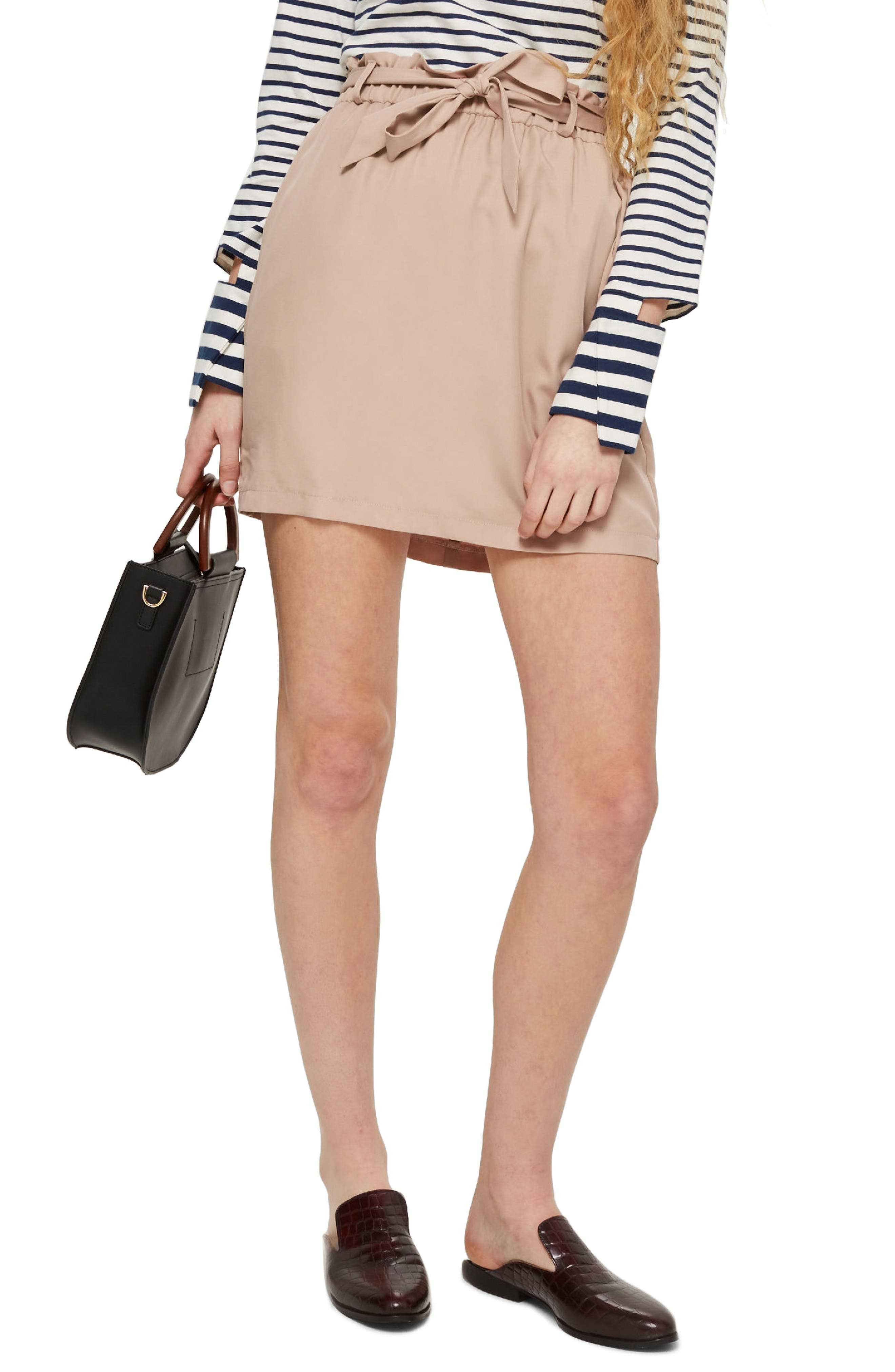 Paperbag Tie Miniskirt,                         Main,                         color, Blush