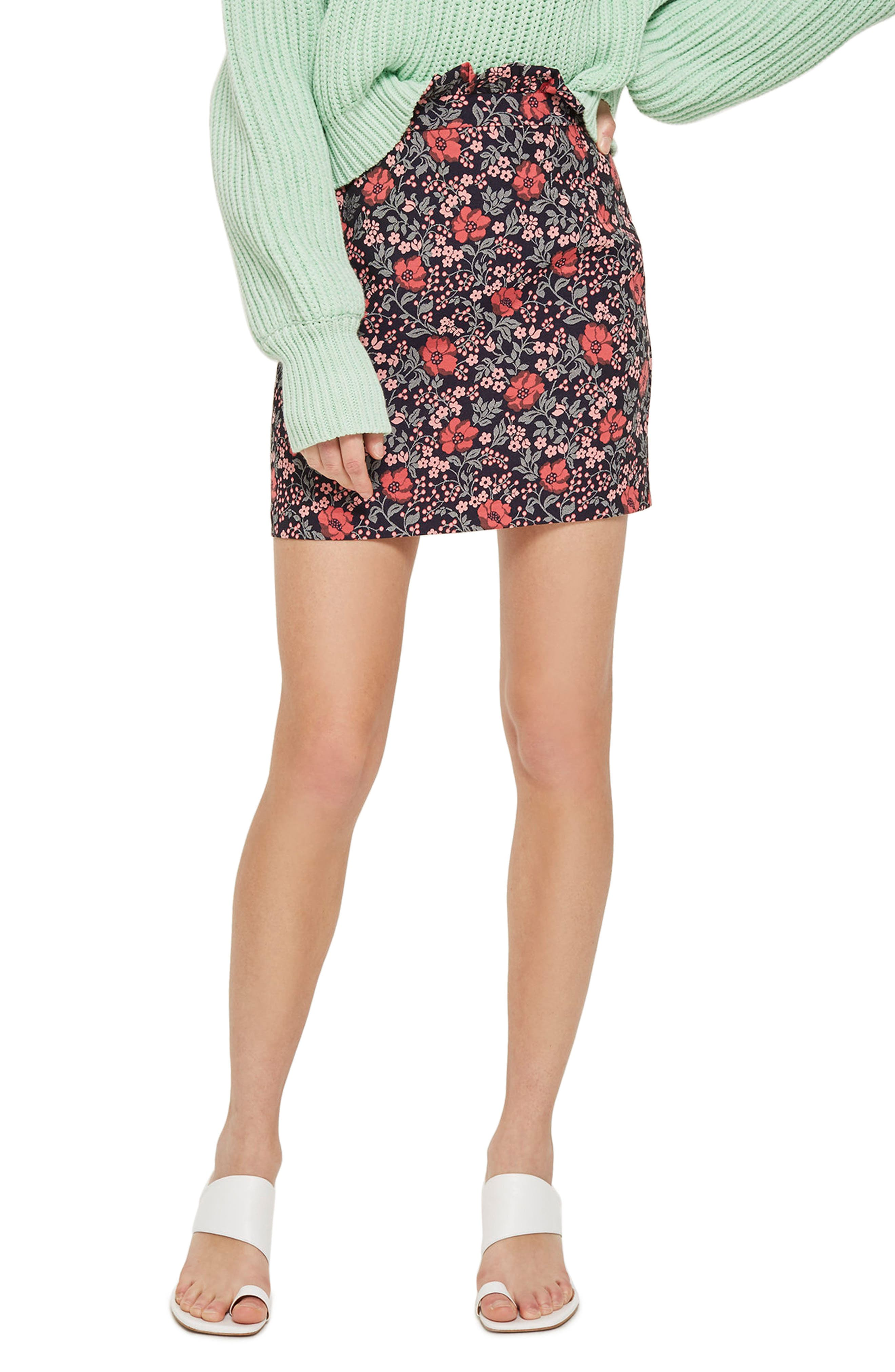 Poppy Jacquard Miniskirt,                         Main,                         color, Pink Multi