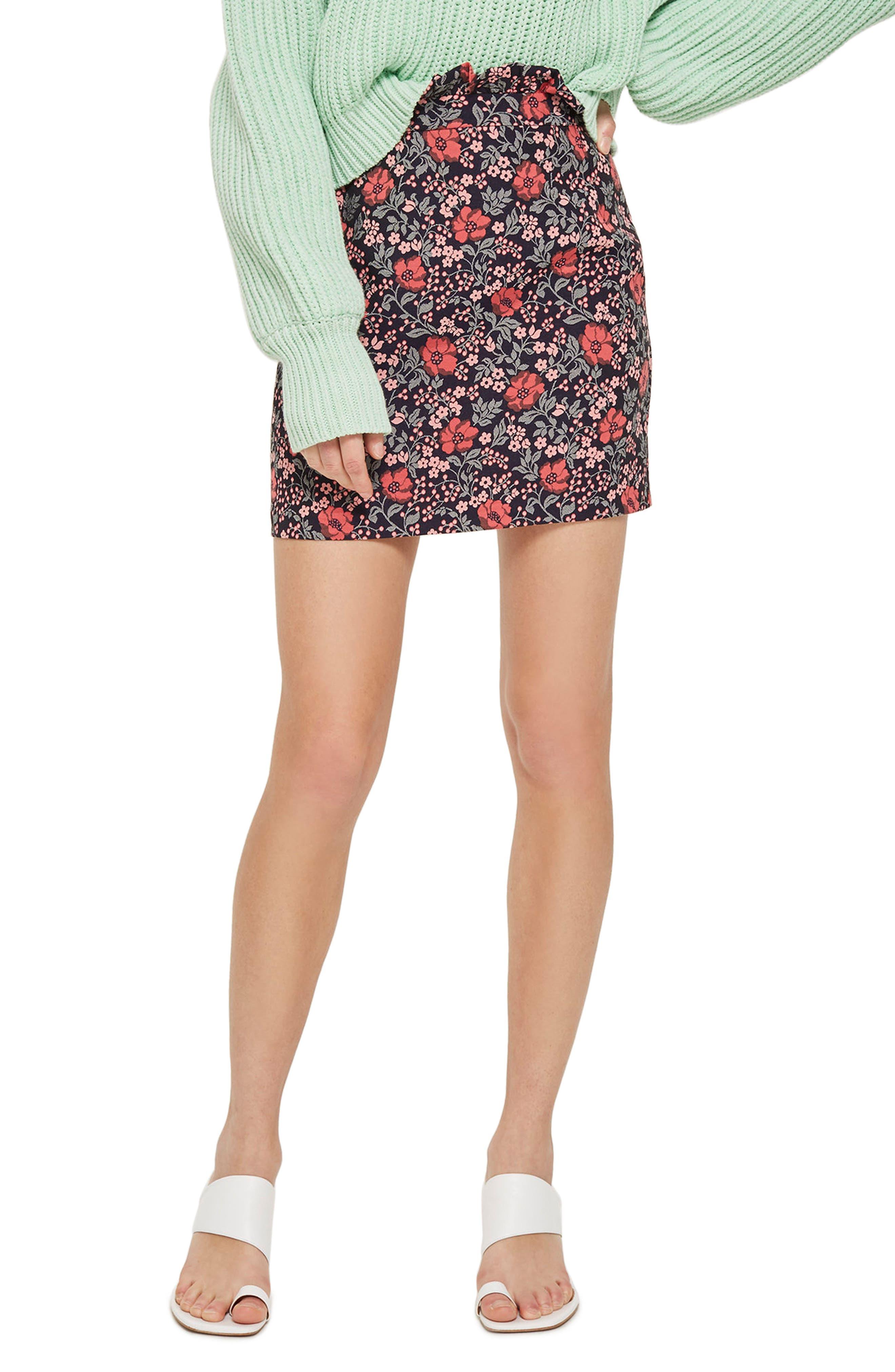 Topshop Poppy Jacquard Miniskirt