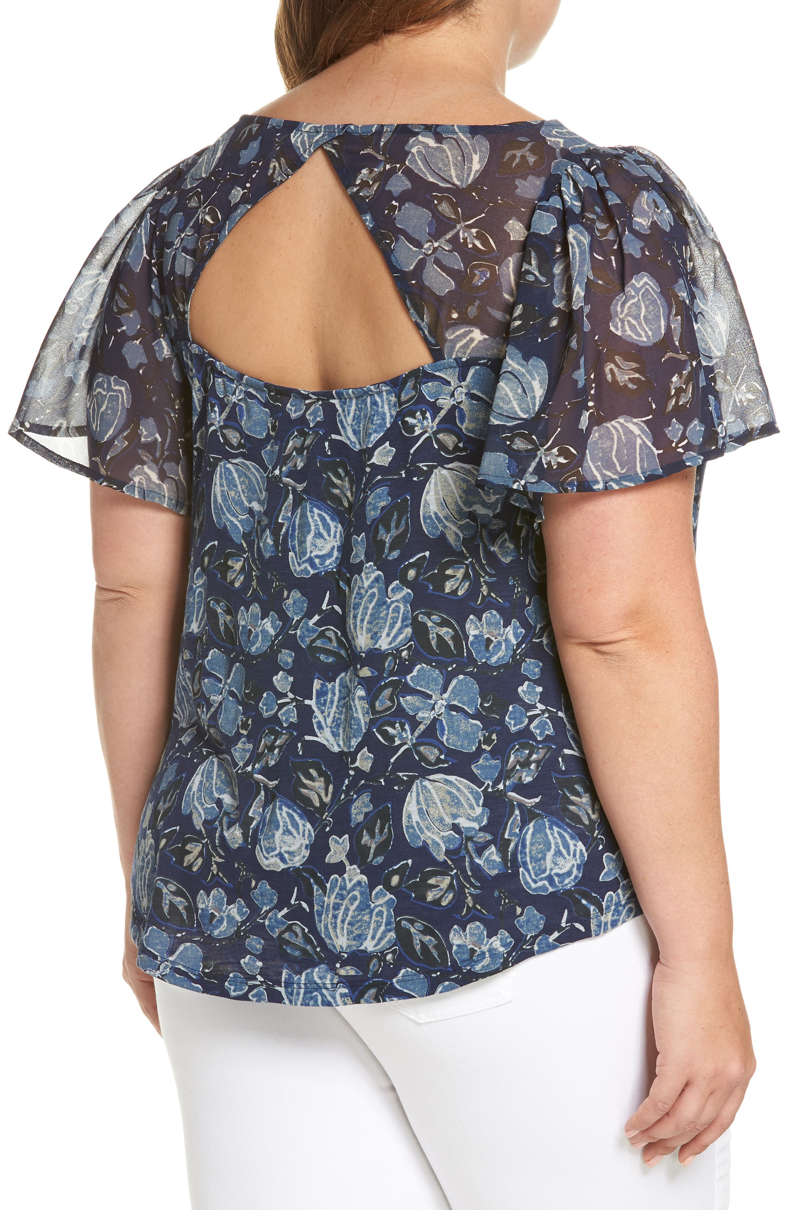 Floral Back Cutout Top,                             Alternate thumbnail 2, color,                             Navy Multi