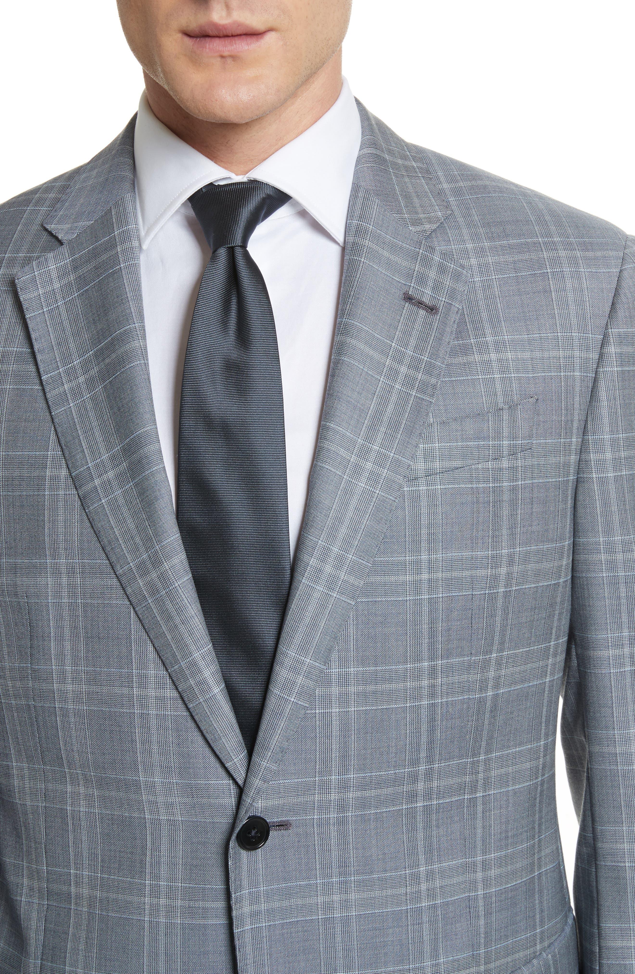 G-Line Trim Fit Plaid Wool Suit,                             Alternate thumbnail 4, color,                             Grey