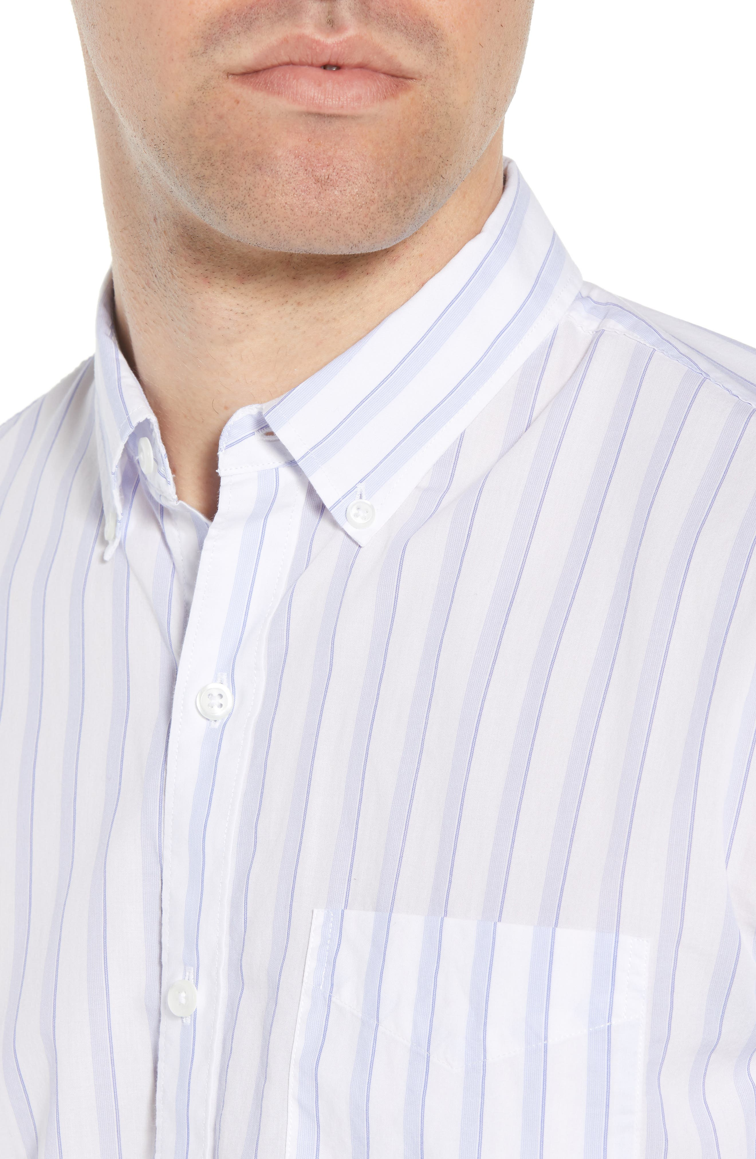 Summerweight Slim Fit Stripe Sport Shirt,                             Alternate thumbnail 2, color,                             Clear Tide Stripe - Della Blue