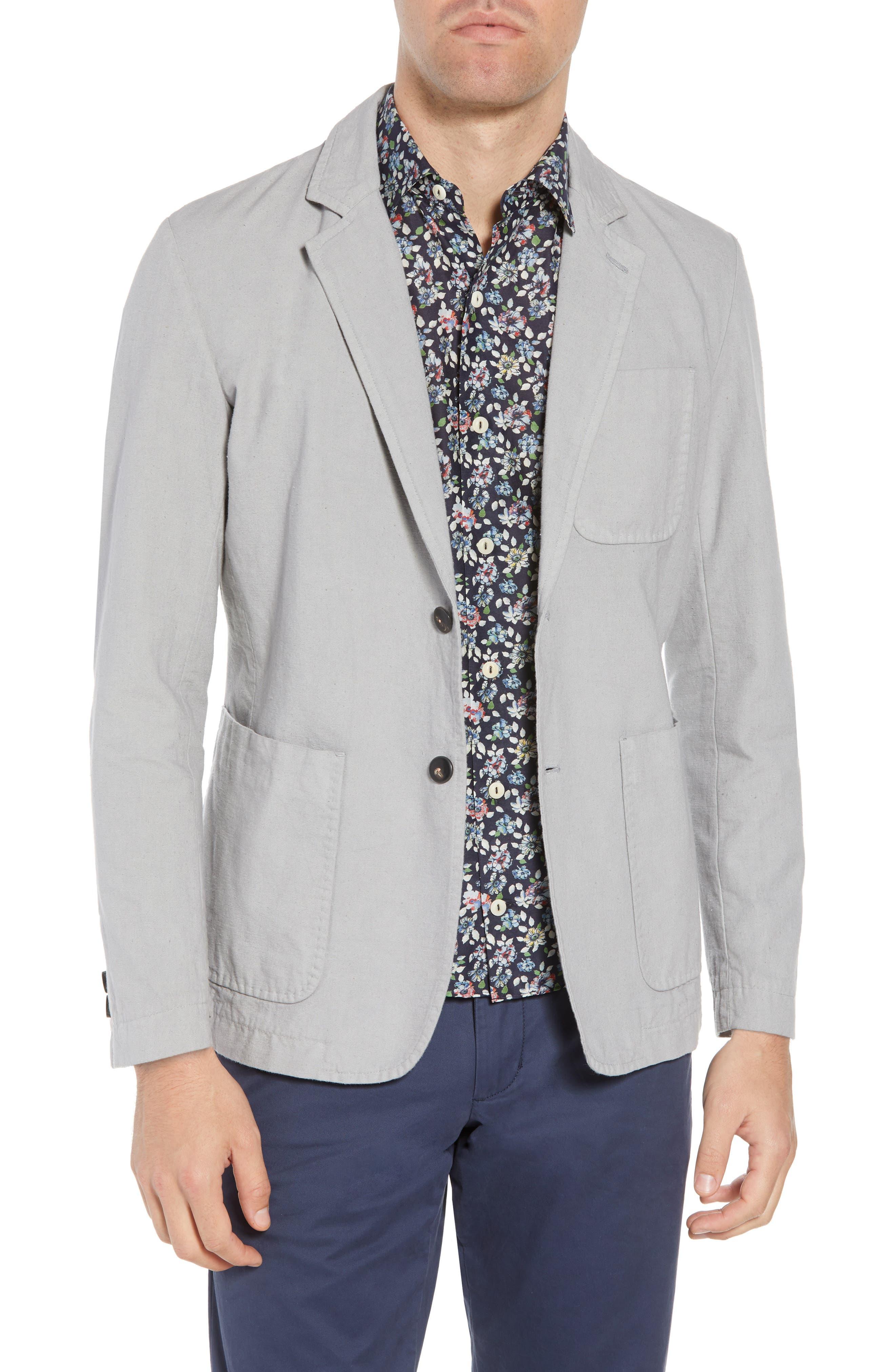 Archie Slim Fit Cotton Blazer,                             Main thumbnail 1, color,                             Grey