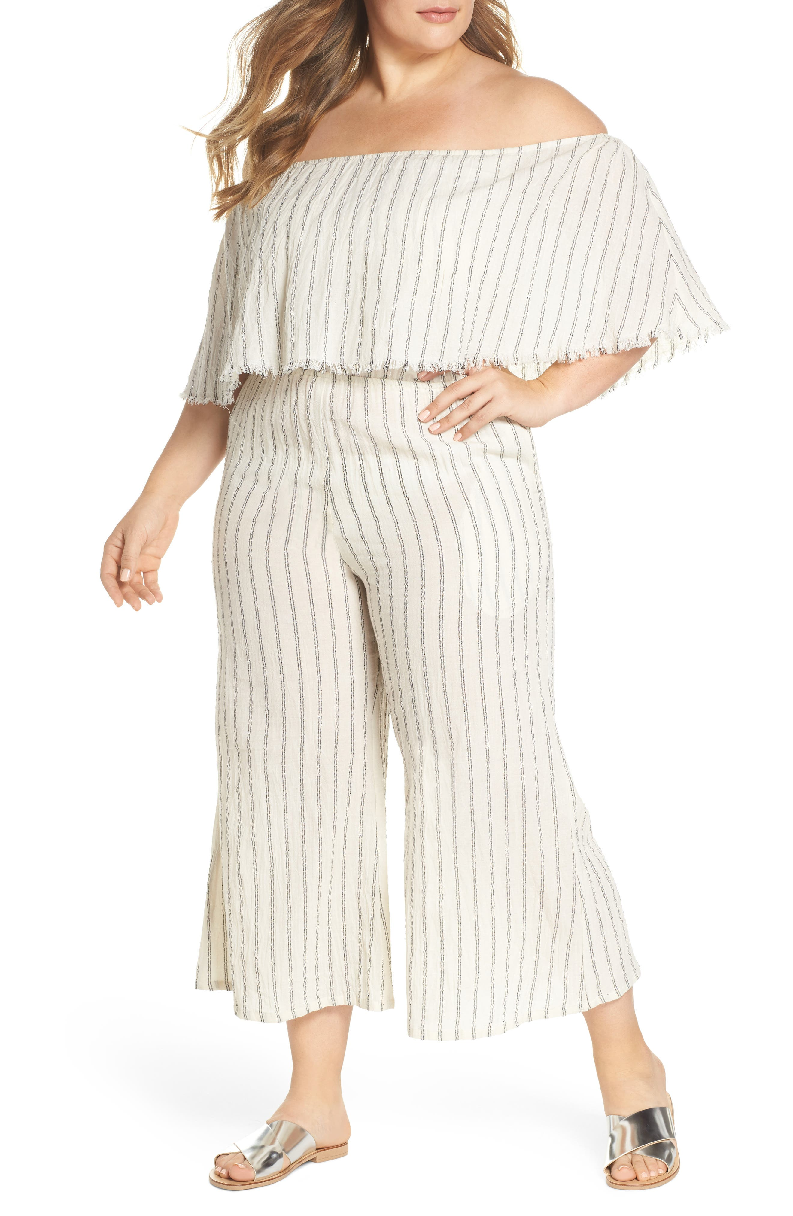 Ruffle Coulotte Cover-Up Jumpsuit,                             Main thumbnail 1, color,                             Natural Stripe