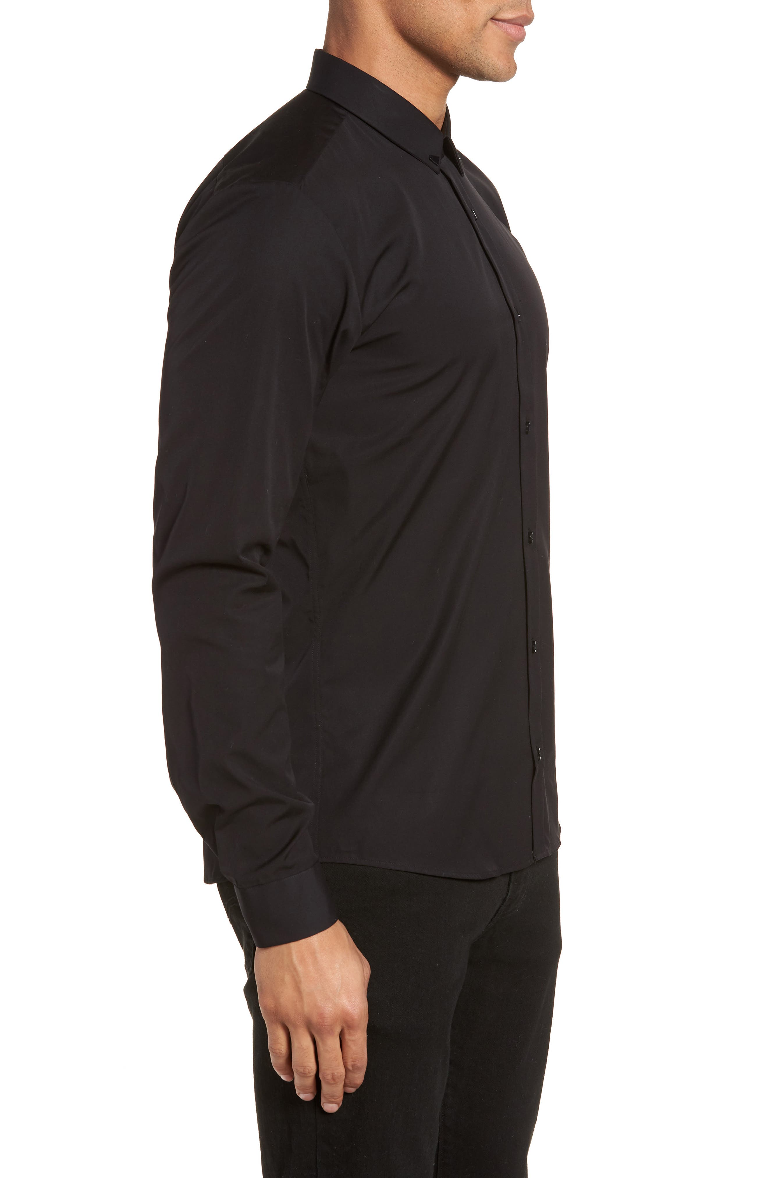 Ero Slim Fit Solid Cotton Sport Shirt,                             Alternate thumbnail 3, color,                             Black