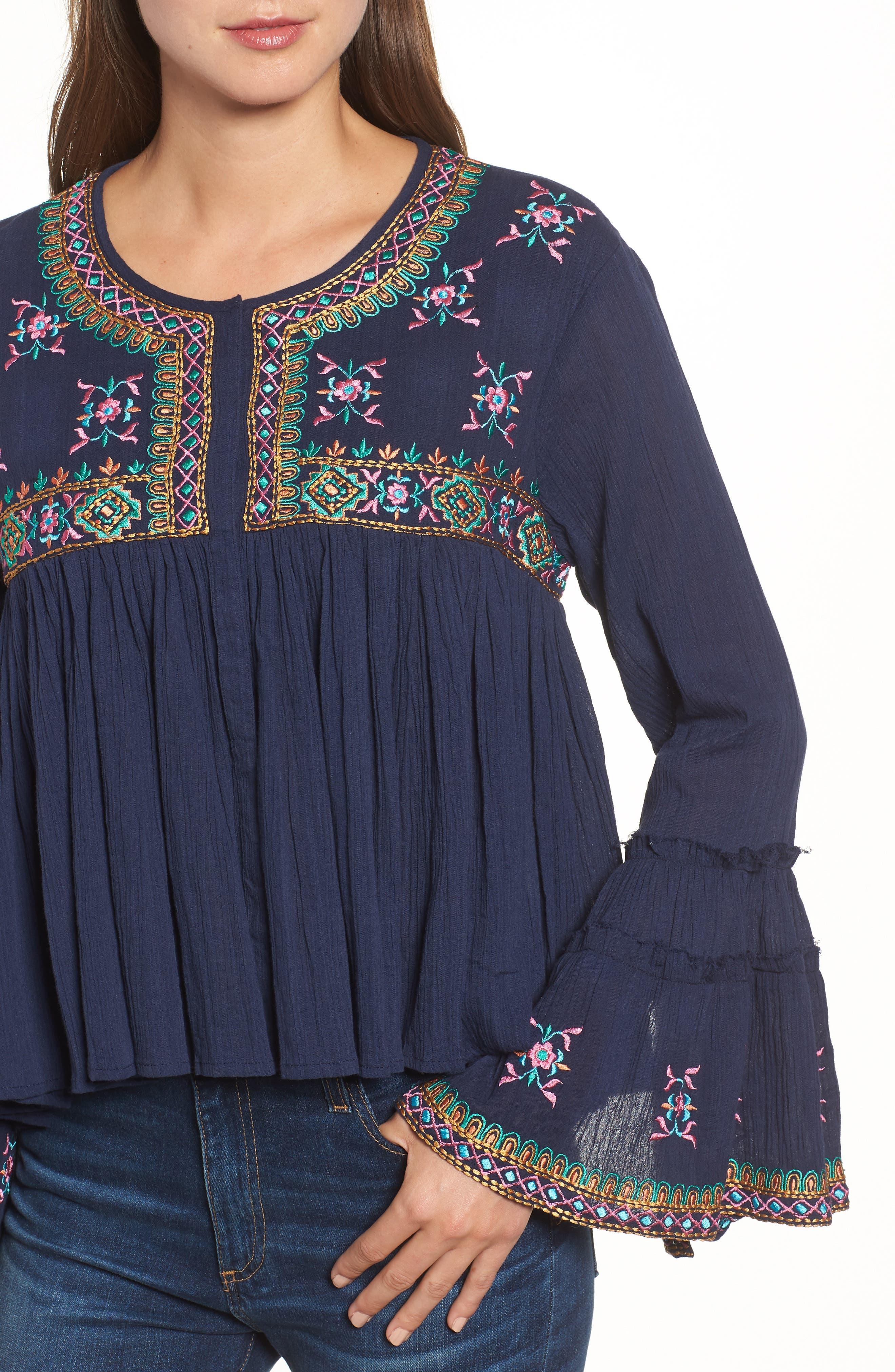 Megan Embroidered Cotton Gauze Blouse,                             Alternate thumbnail 4, color,                             Navy