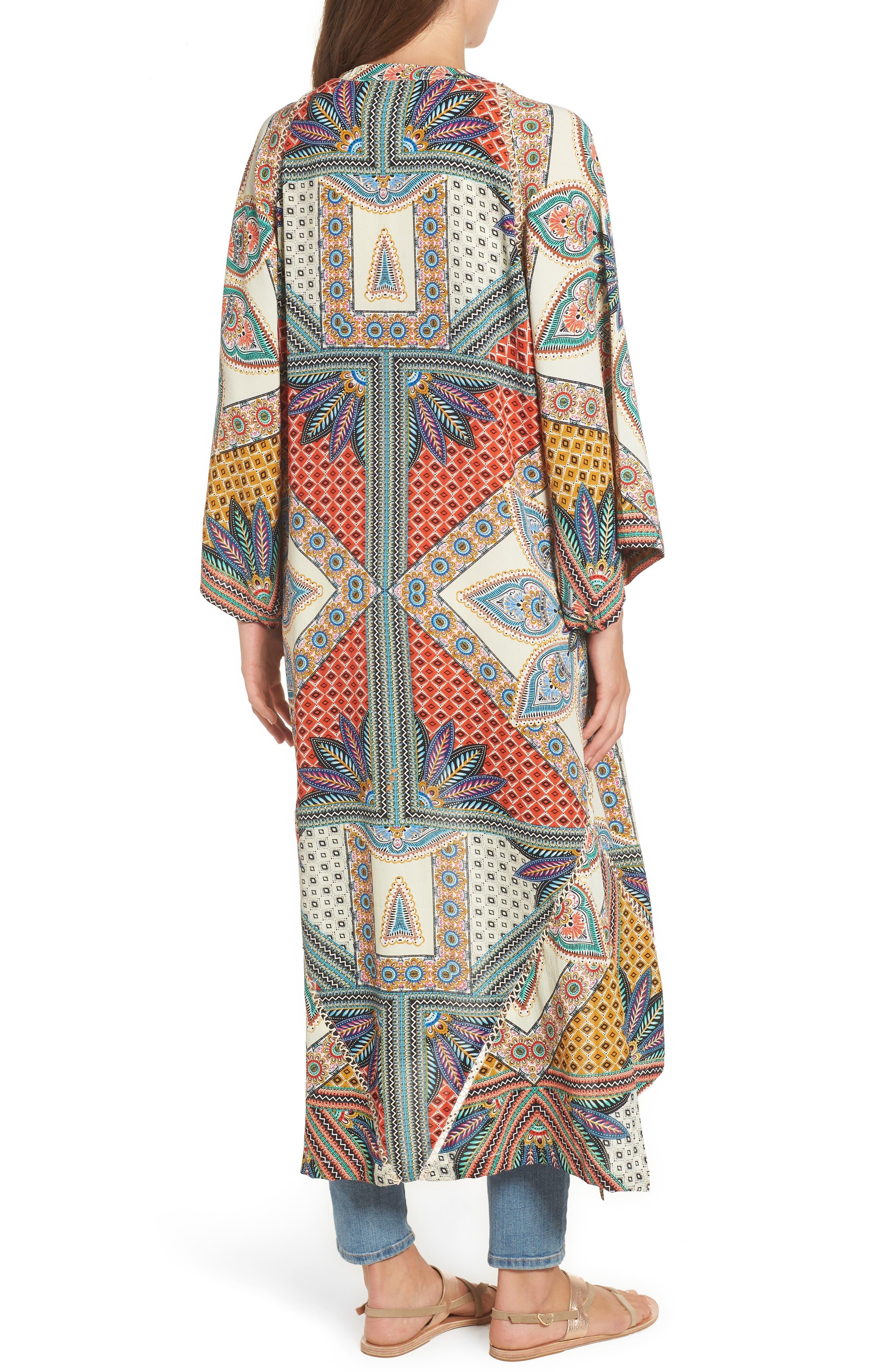 Scarf Print Kimono Jacket,                             Alternate thumbnail 2, color,                             Multi