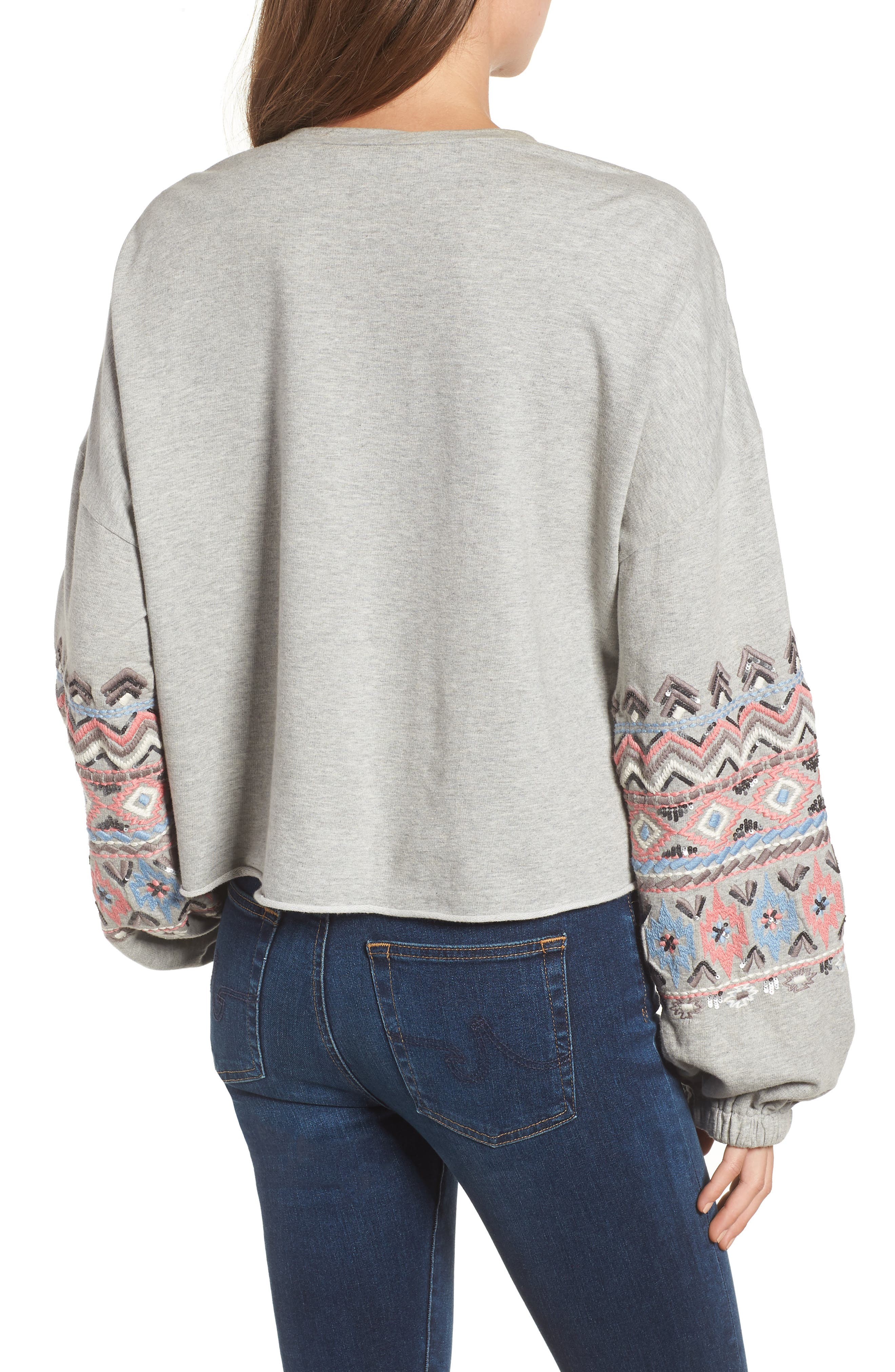 Embroidered Beaded Sweatshirt,                             Alternate thumbnail 2, color,                             Grey