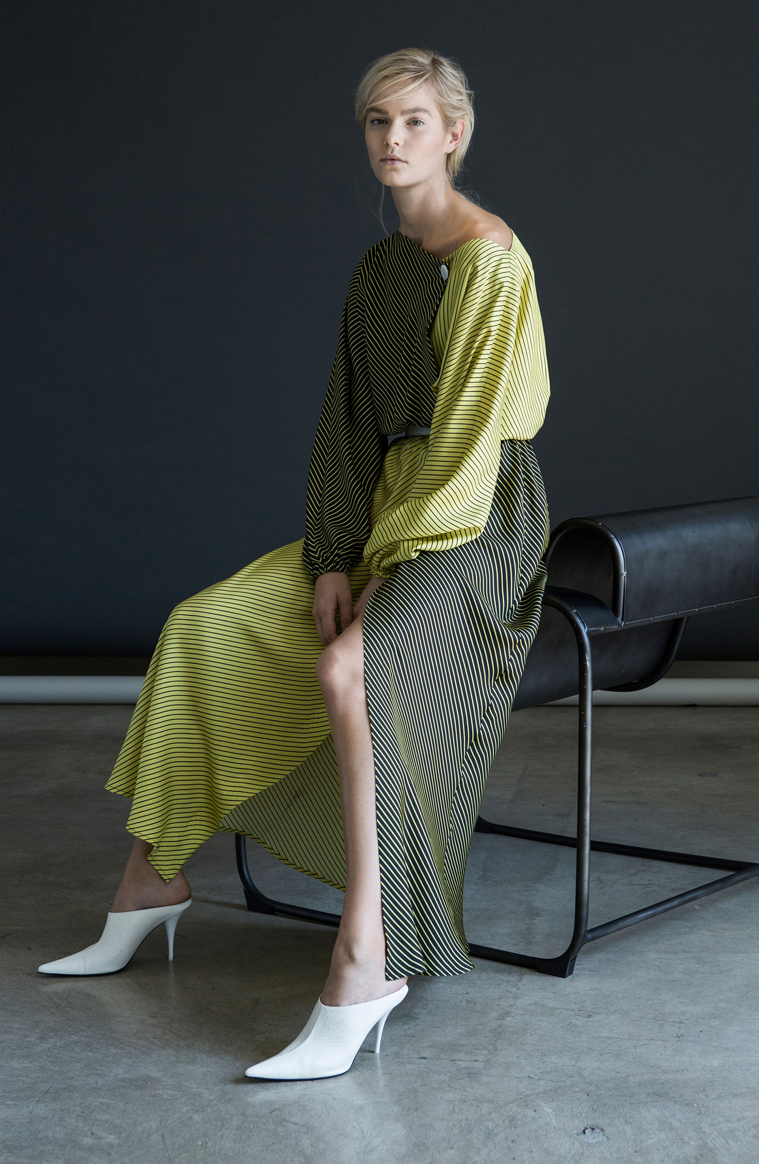 Colorblock Stripe Dress,                             Alternate thumbnail 2, color,                             Black/ Yellow
