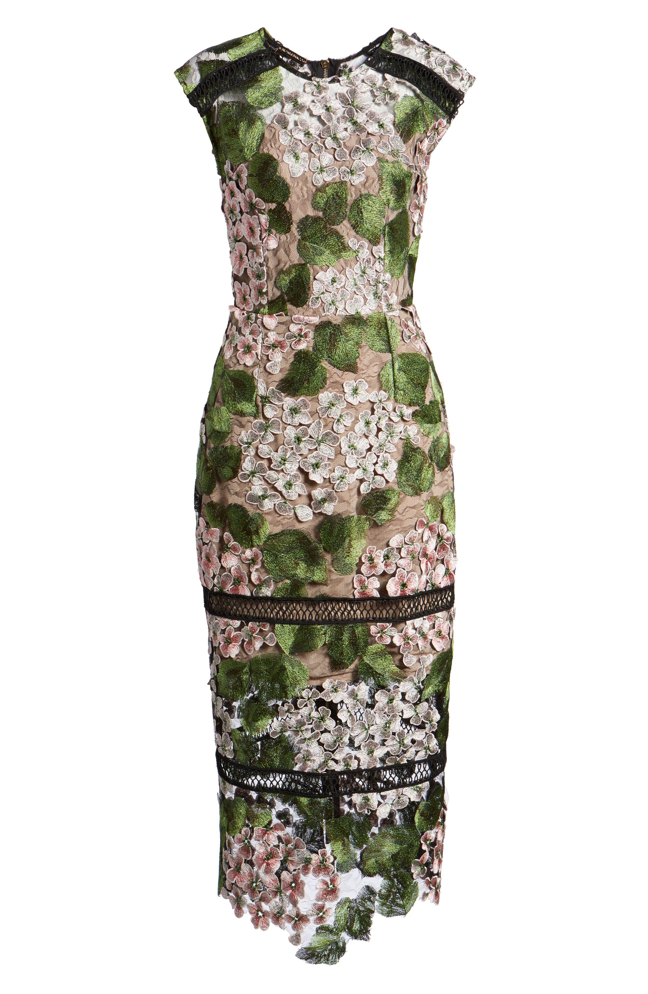 Cherry Hydrangea Lace Dress,                             Alternate thumbnail 6, color,                             Multicolor Pink