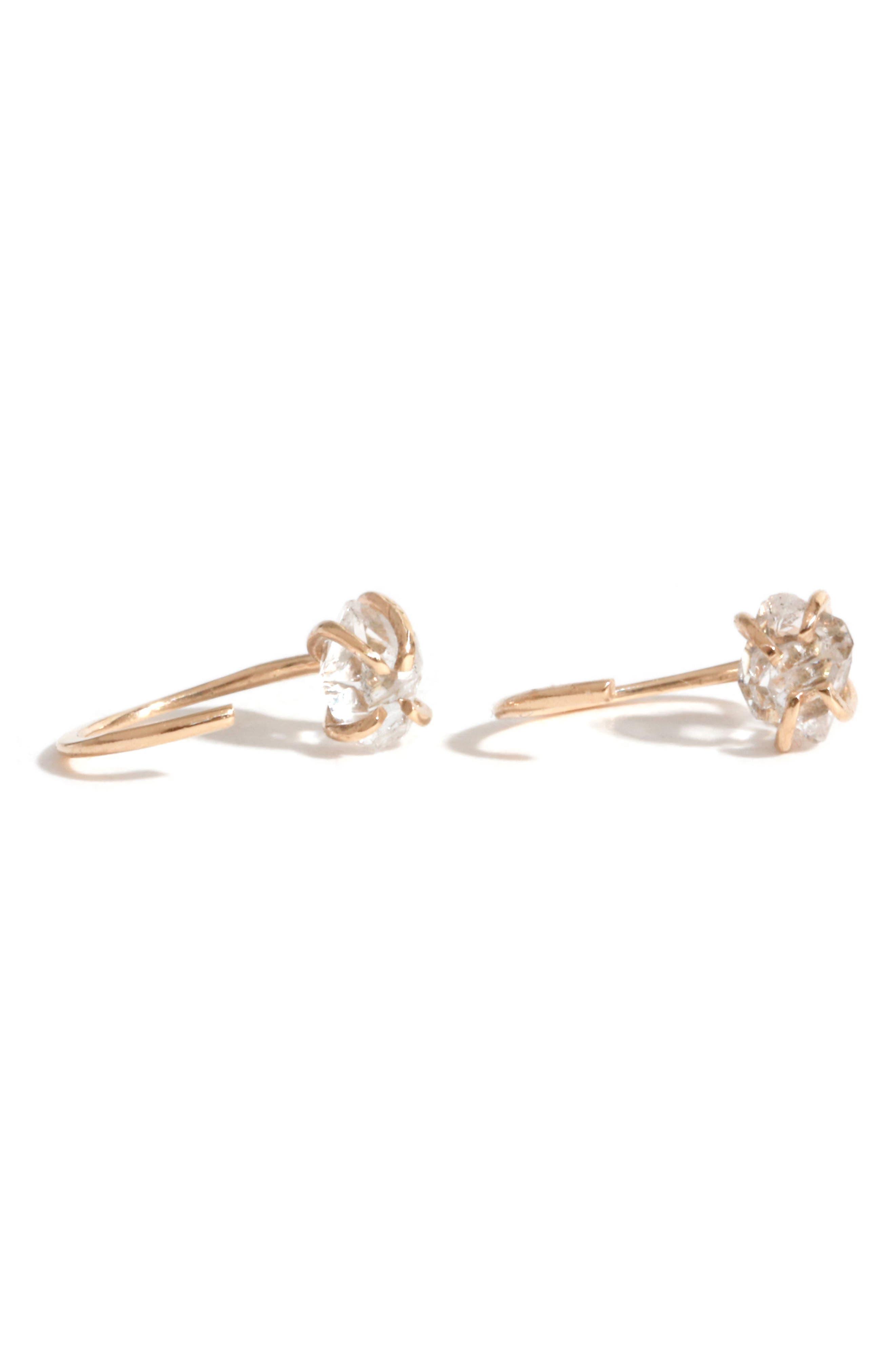 Hug Hoop Crystal Earrings,                         Main,                         color, Yellow Gold