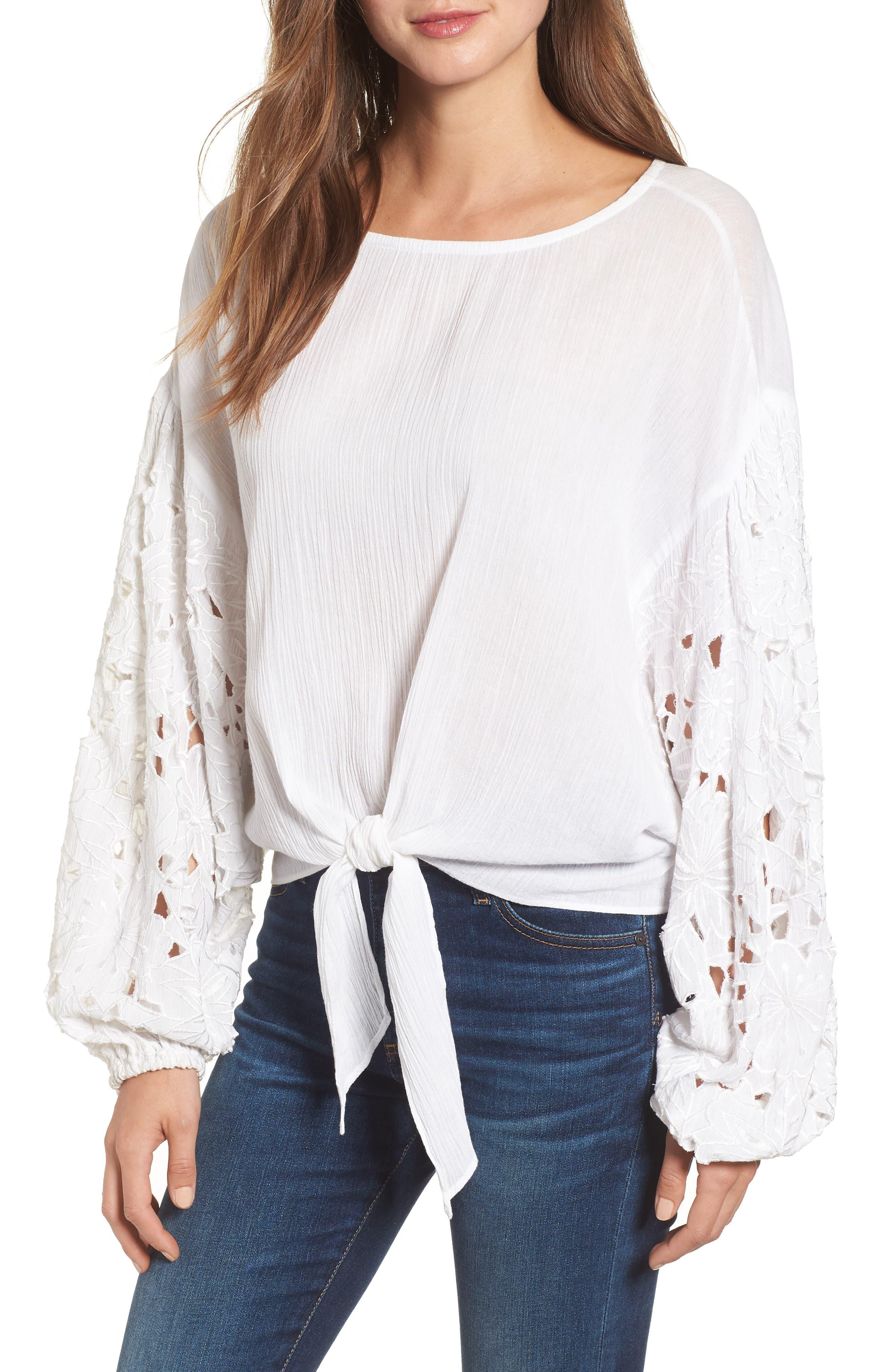 Tie Front Cut Floral Sleeve Cotton Blouse,                             Main thumbnail 1, color,                             White