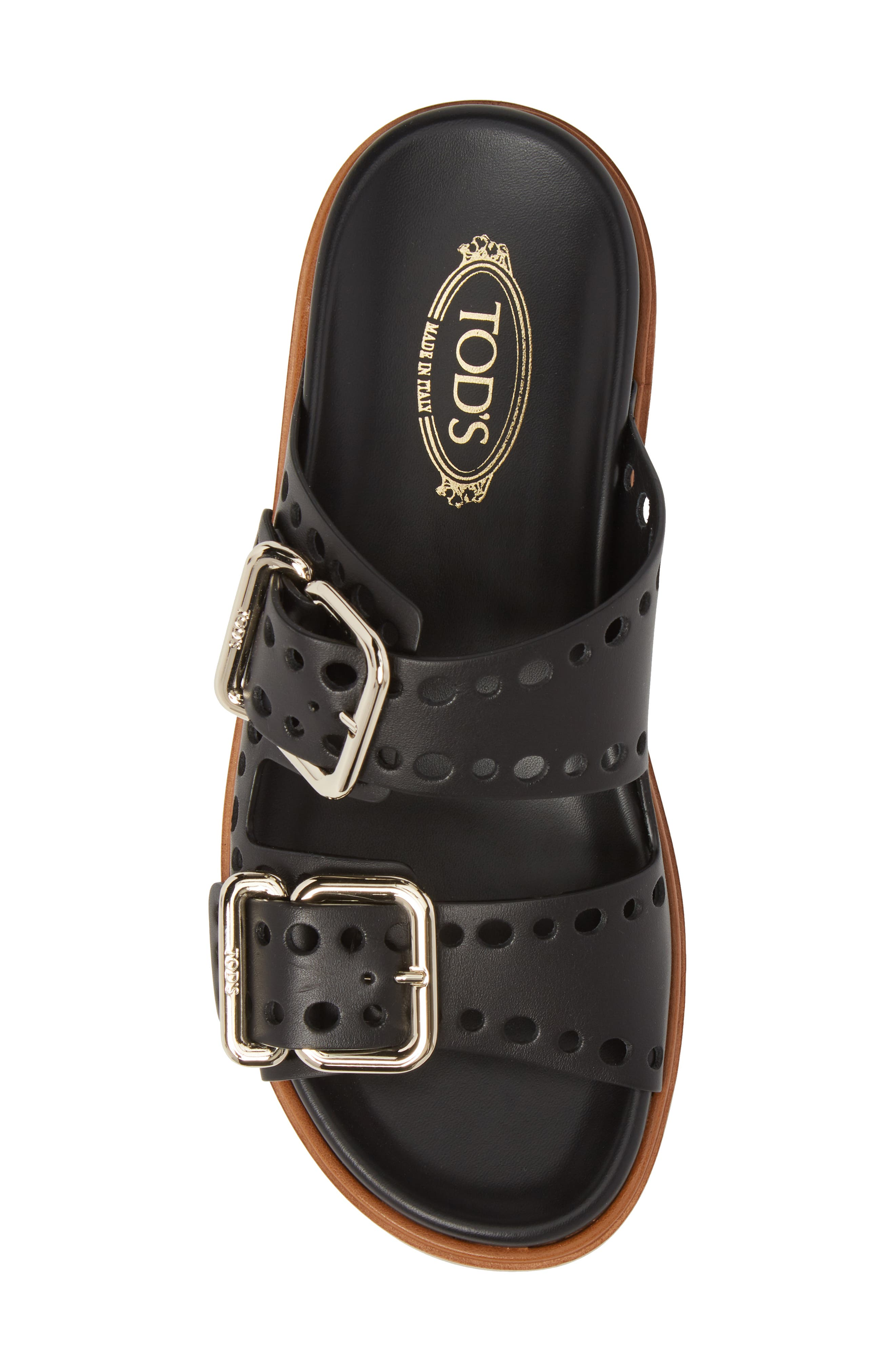 Perforated Platform Slide Sandal,                             Alternate thumbnail 5, color,                             Black