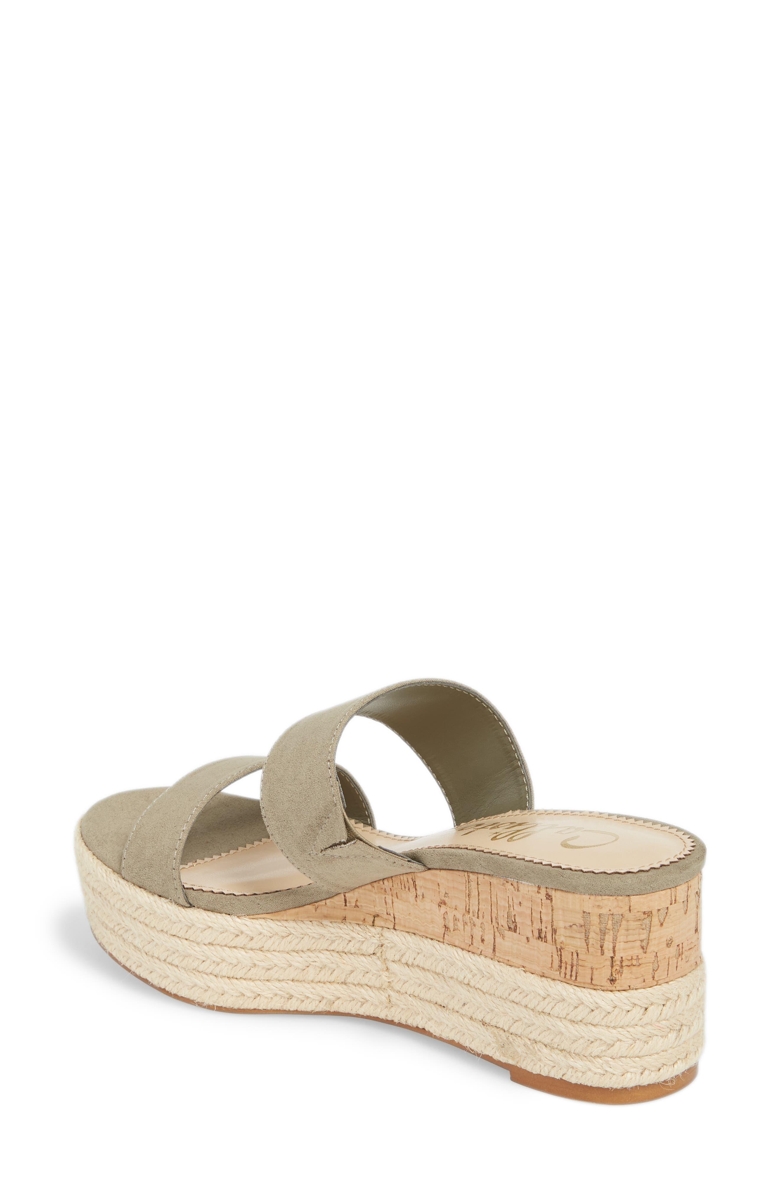 Foundation Platform Slide Sandal,                             Alternate thumbnail 2, color,                             Sage Suede