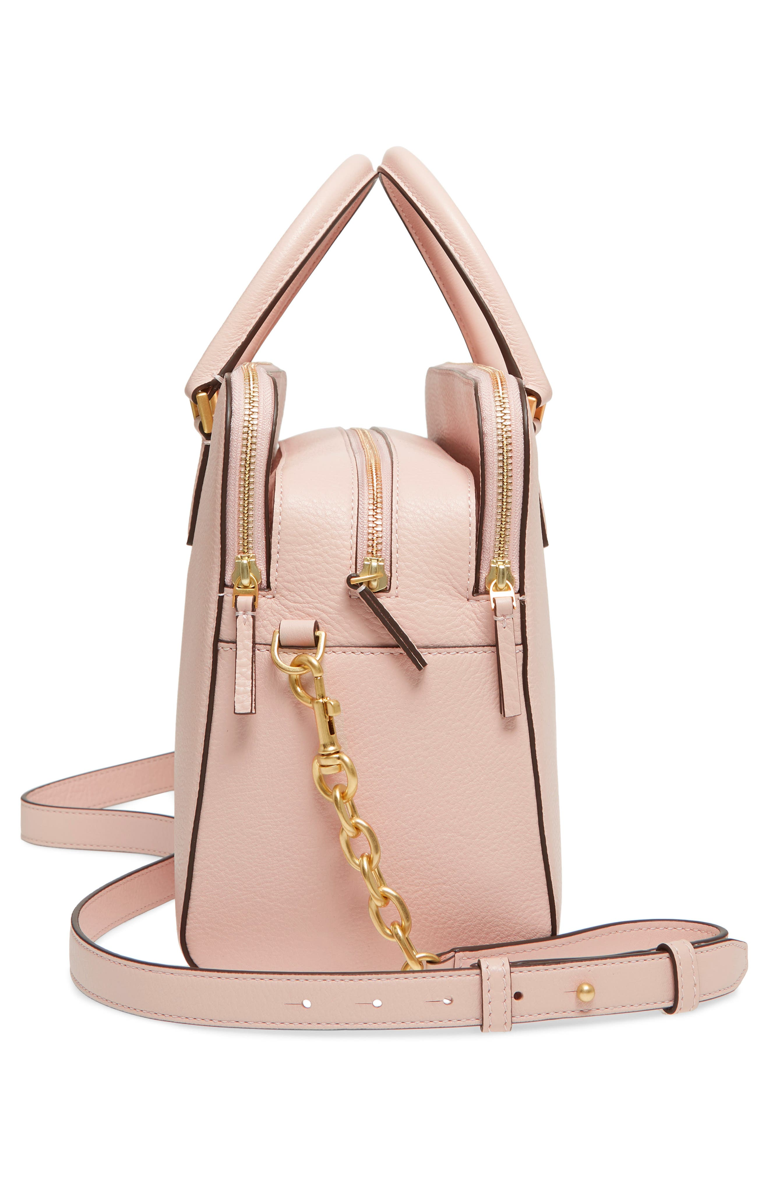 Georgia Double Zip Pebbled Leather Satchel,                             Alternate thumbnail 4, color,                             Shell Pink