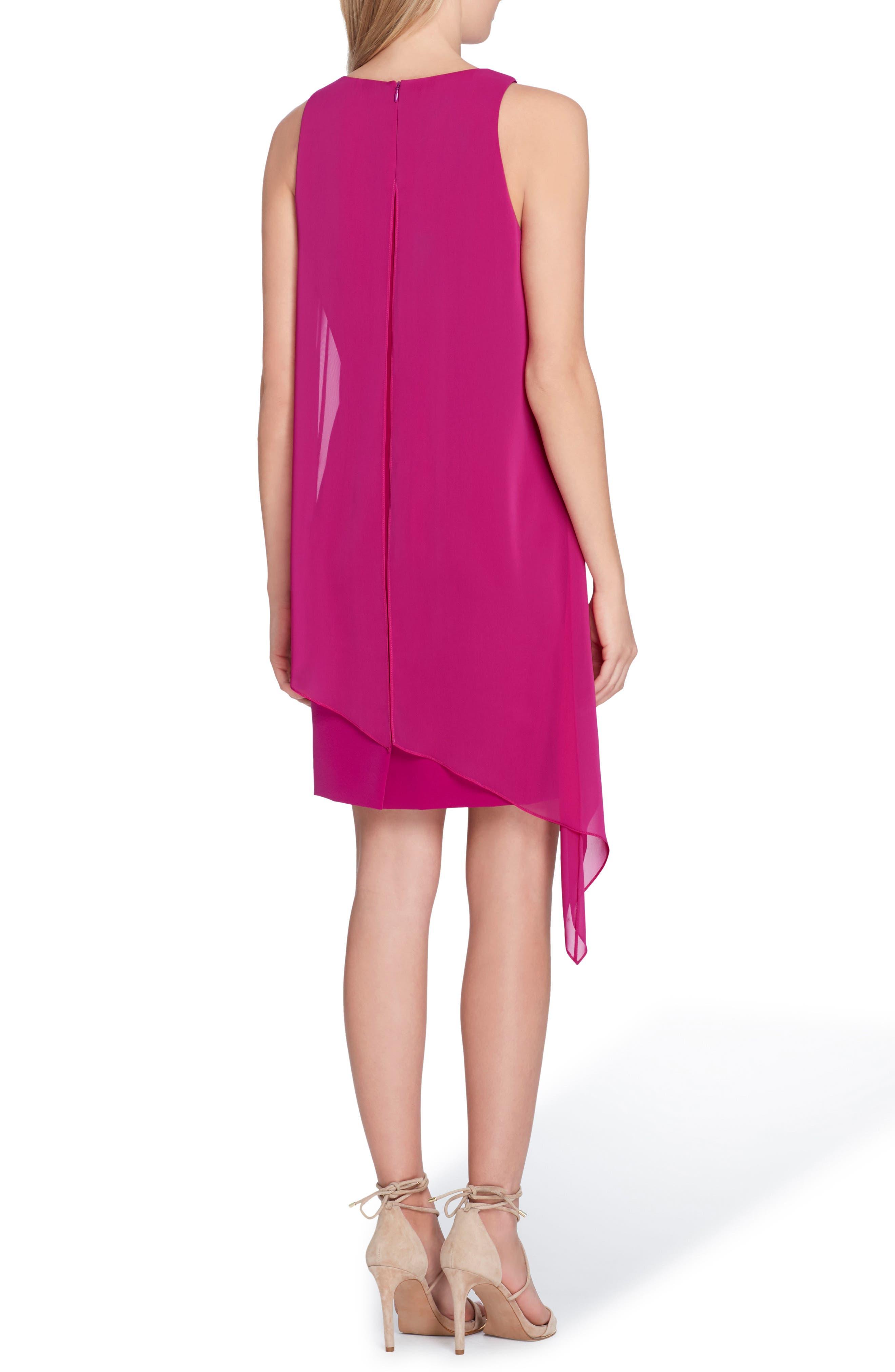 Sleeveless Overlay Crepe Sheath Dress,                             Alternate thumbnail 2, color,                             Summer Fuchsia