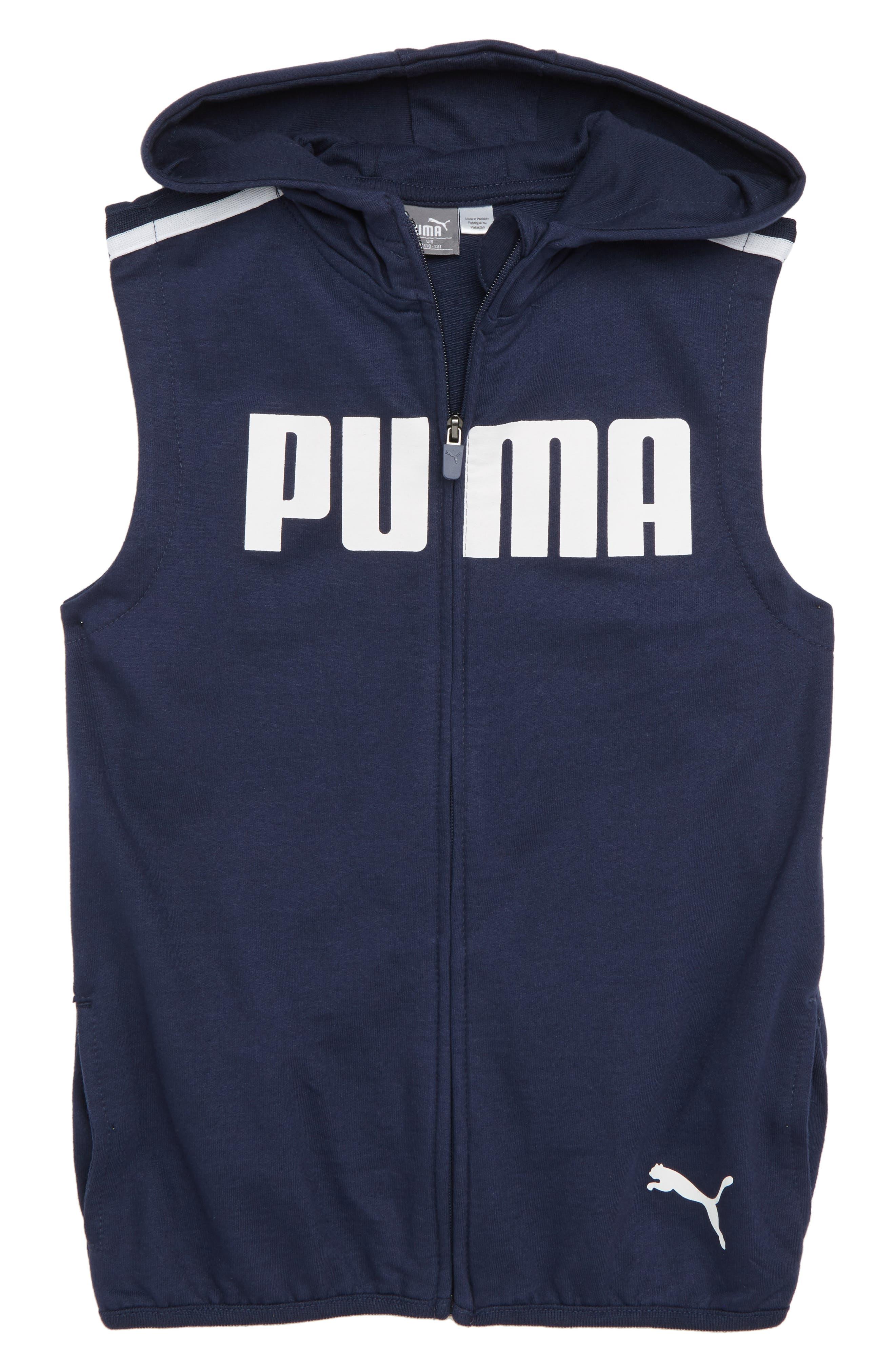 Sleeveless Full Zip Hoodie,                         Main,                         color, Pea Coat