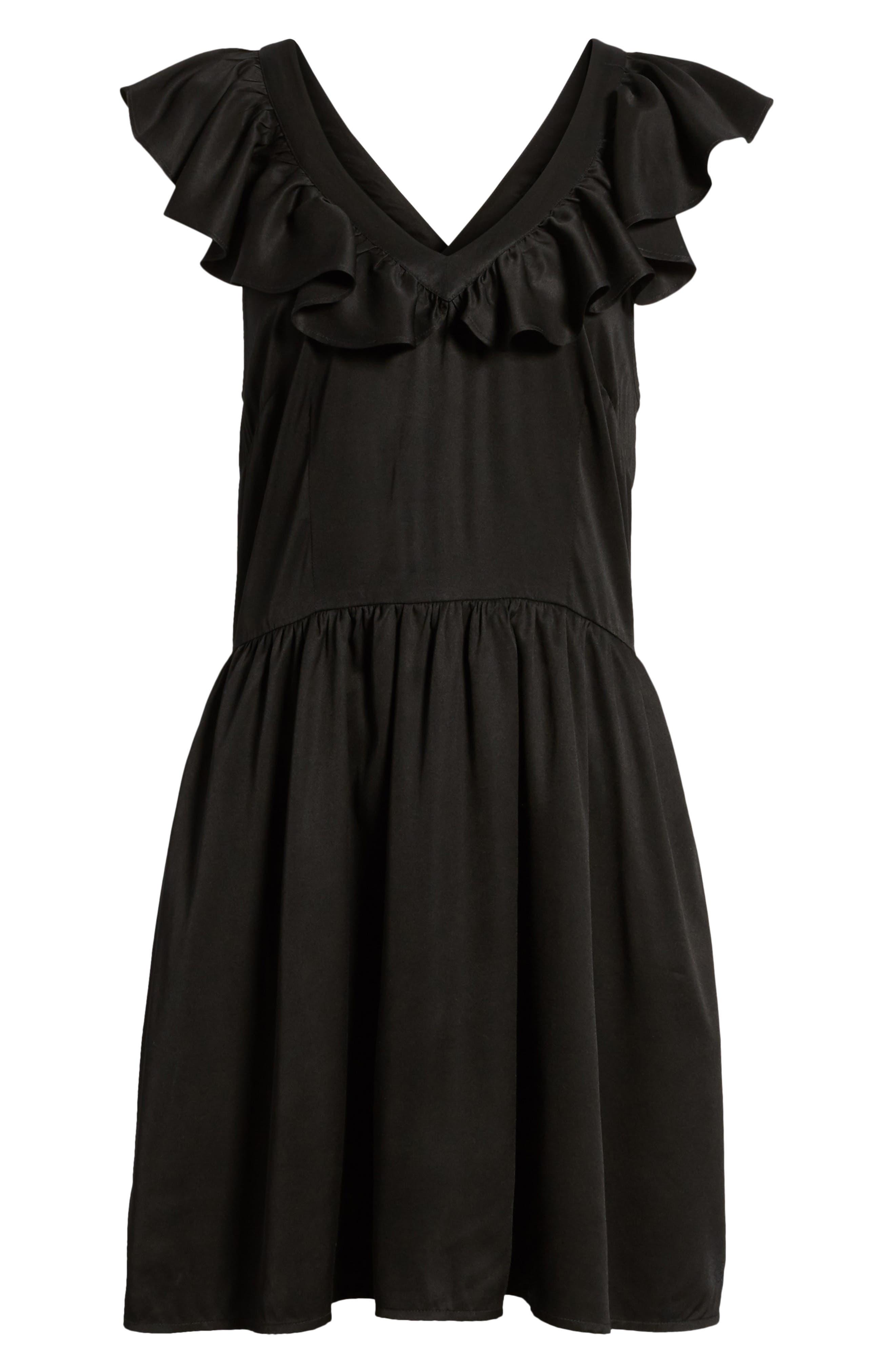 Ruffle Satin Dress,                             Alternate thumbnail 7, color,                             Black