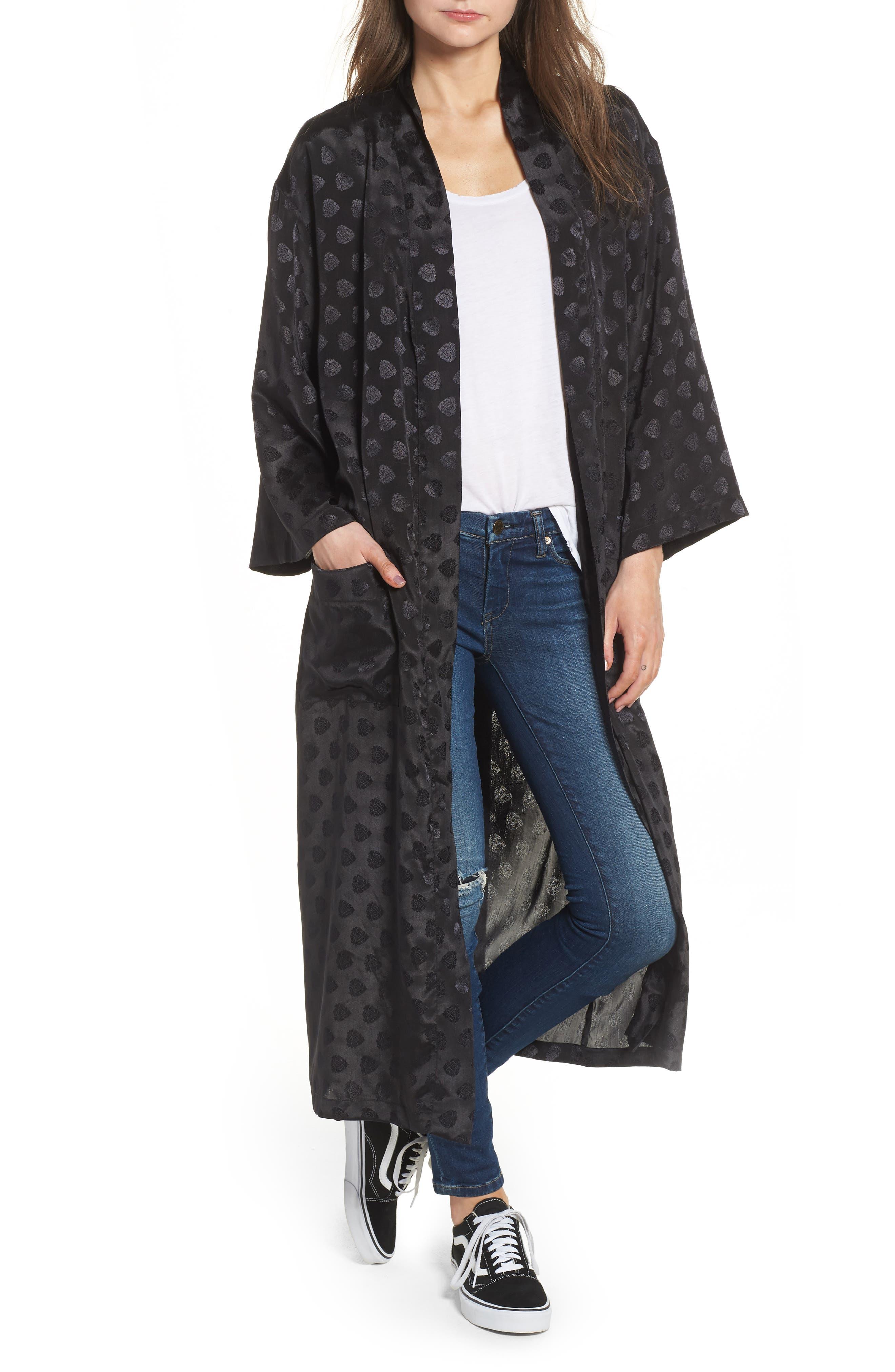 Reblogged Satin Jacquard Kimono,                         Main,                         color, Black