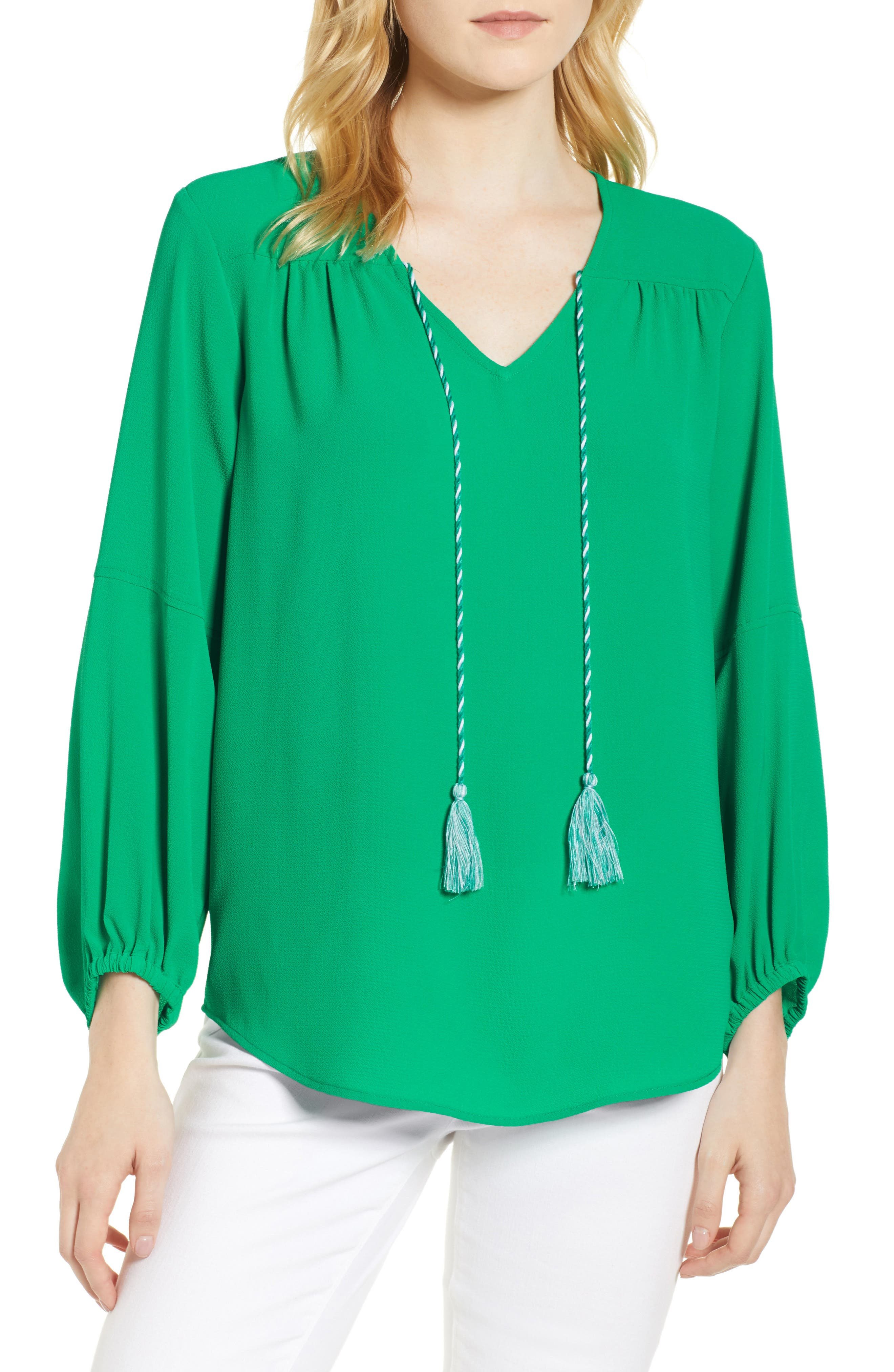 Tie Neck Crepe Blouse,                             Main thumbnail 1, color,                             Gallery Green