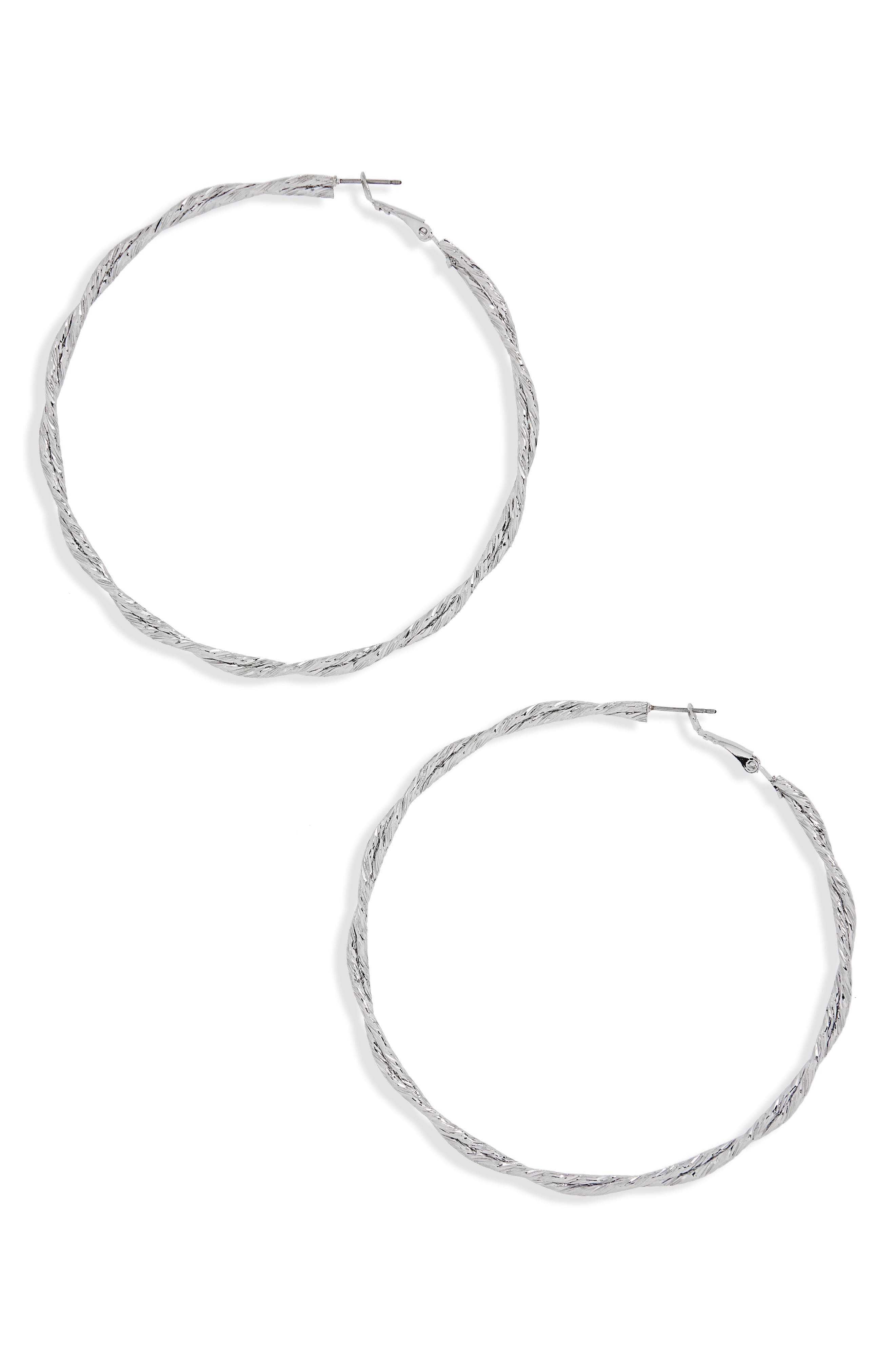 Twisted Hoop Earrings,                             Main thumbnail 1, color,                             Silver