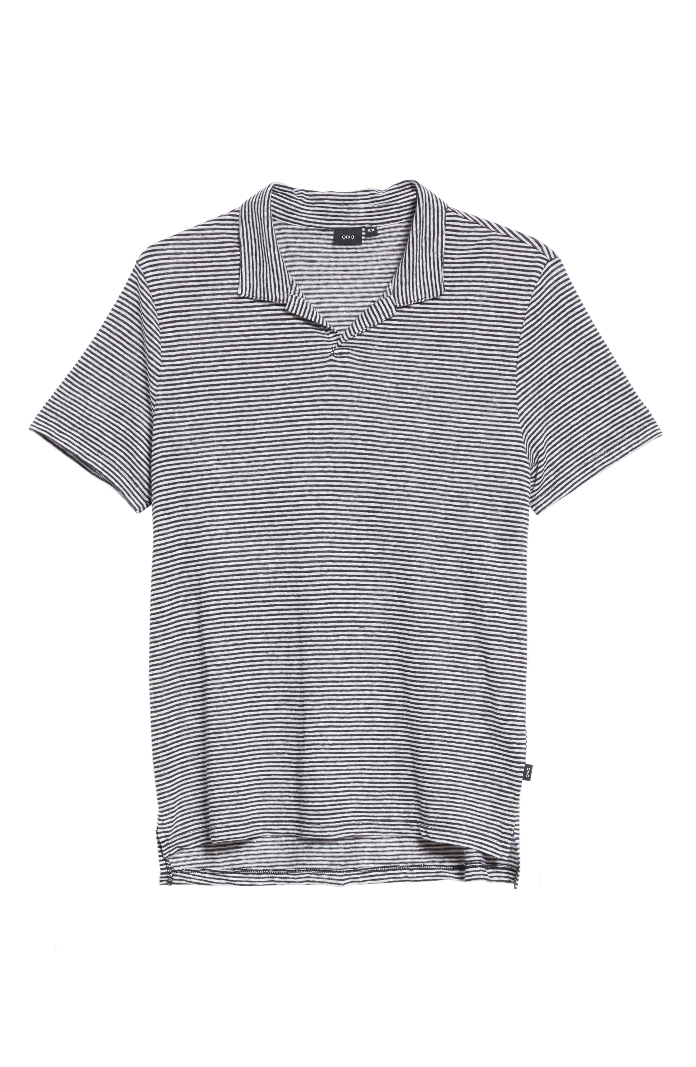 Shaun Stripe Polo,                             Alternate thumbnail 6, color,                             Black/ White