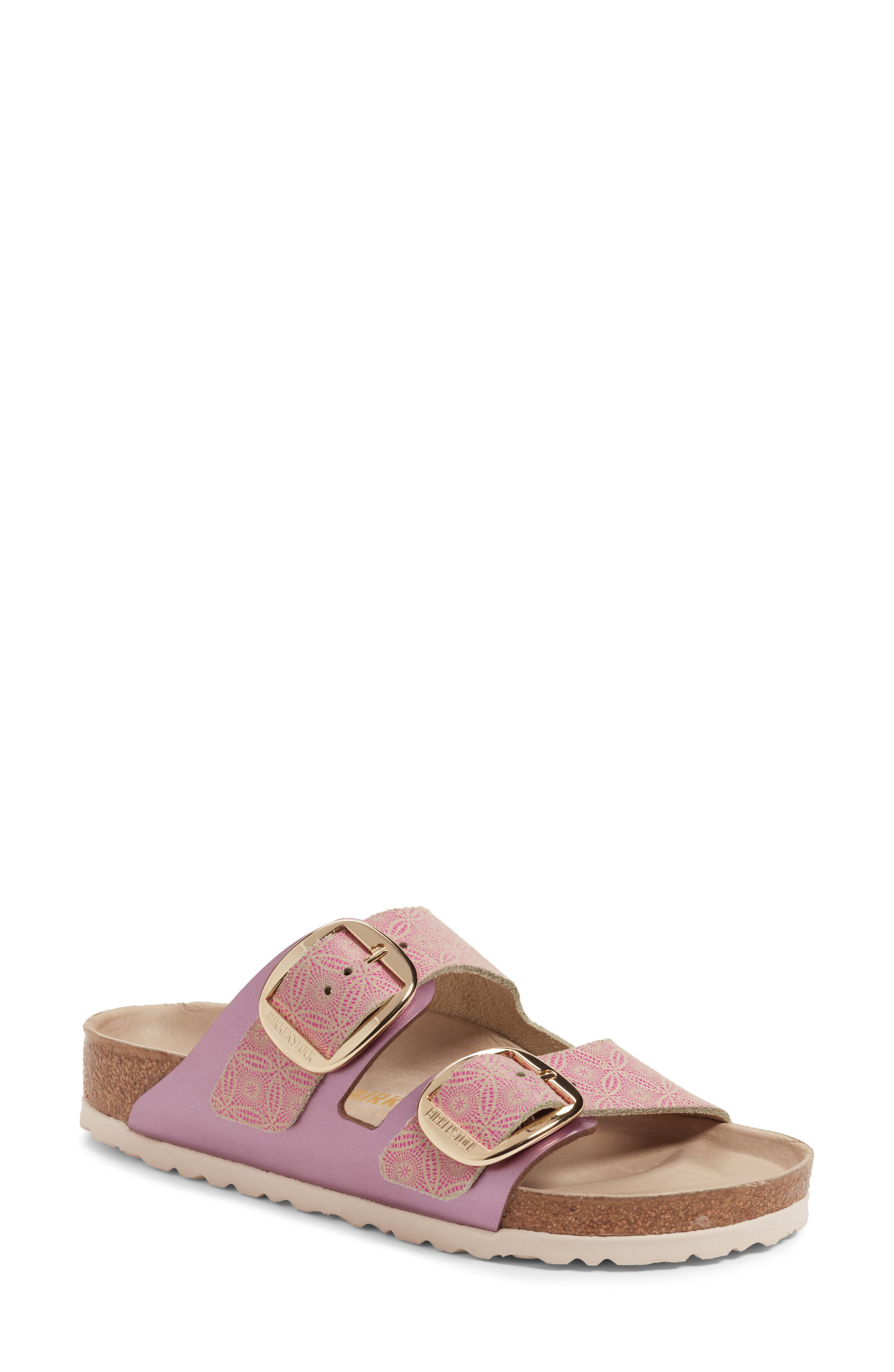 Arizona Big Buckle Slide Sandal,                             Main thumbnail 1, color,                             Ceramic Rose Leather