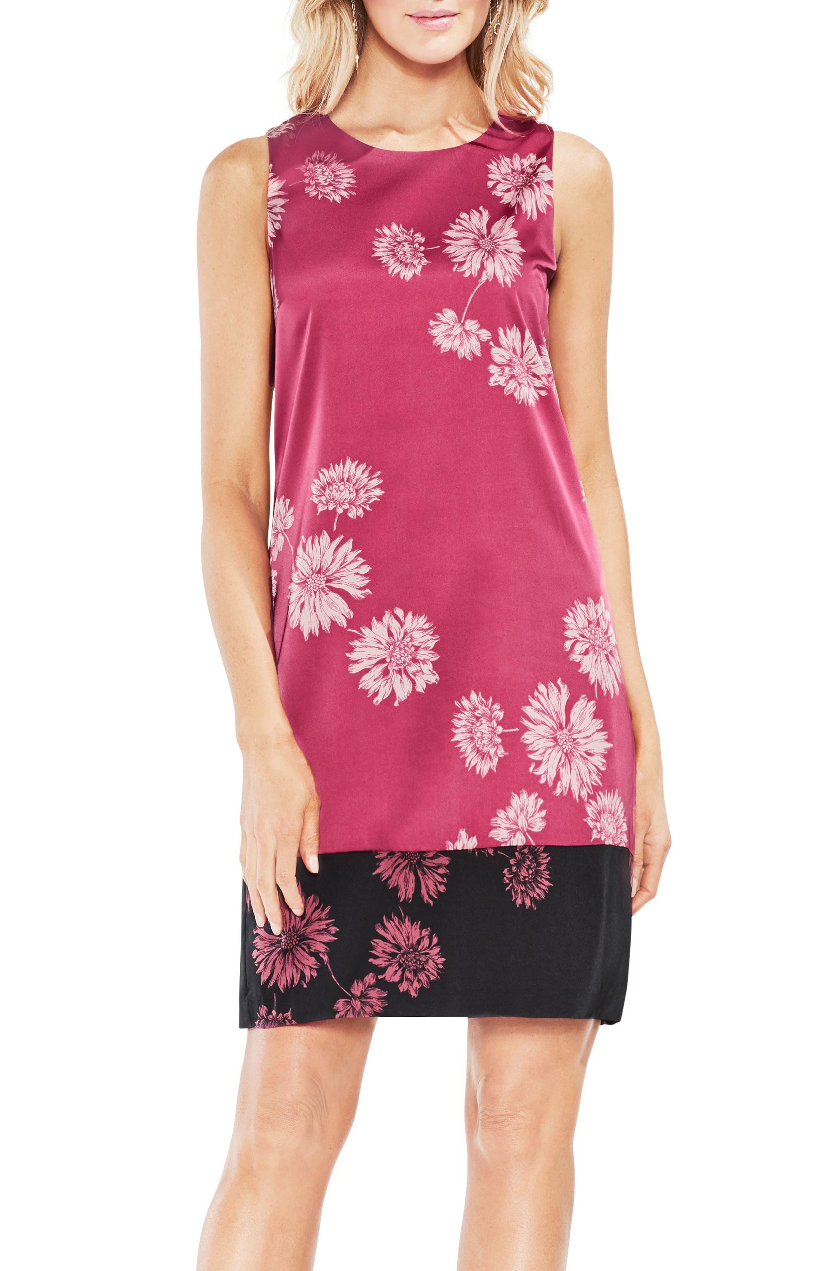 Chateau Floral Shift Dress,                             Main thumbnail 1, color,                             888-Pink Rose