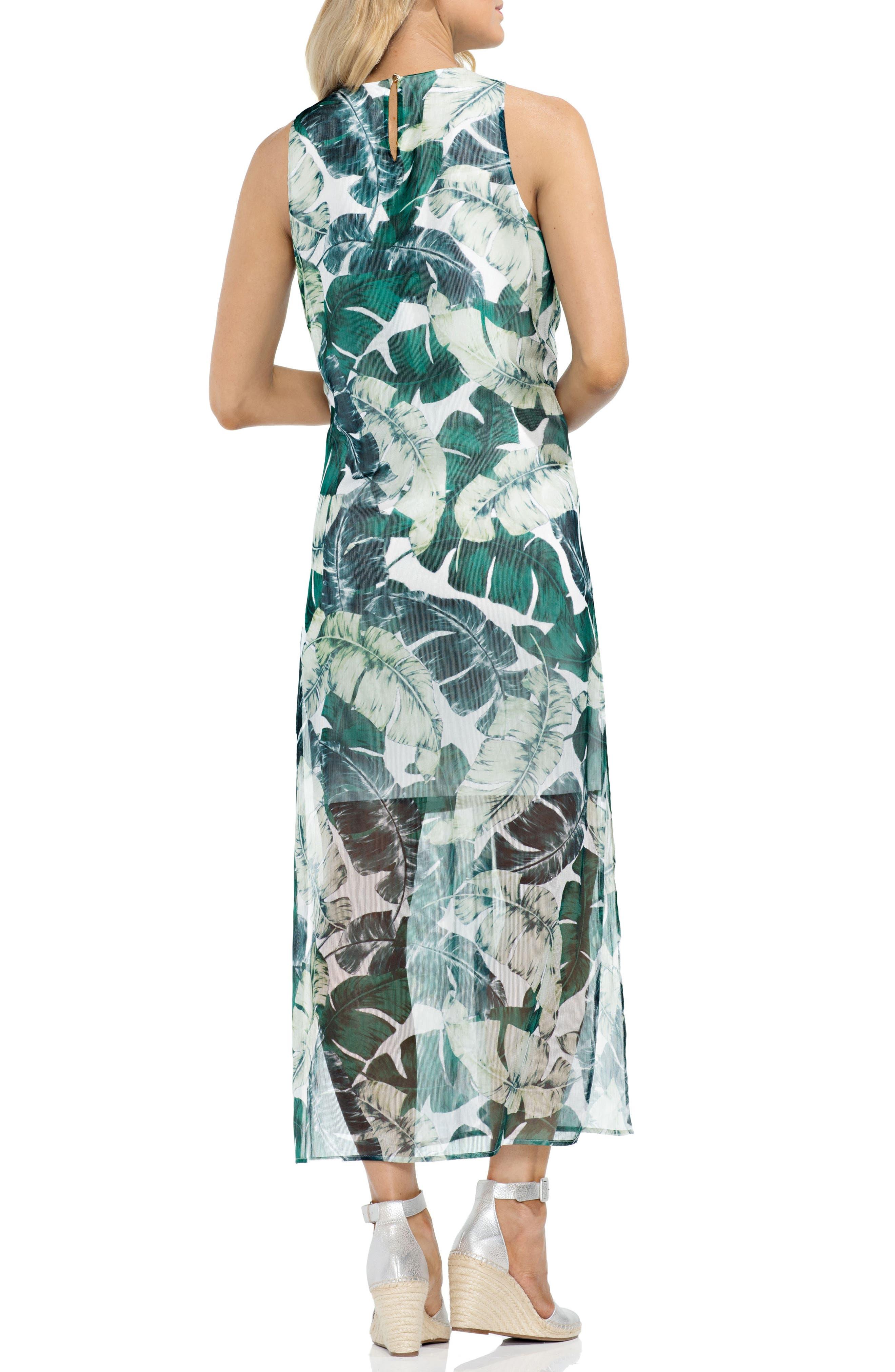 Jungle Palm Overlay Maxi Dress,                             Alternate thumbnail 2, color,                             New Ivory